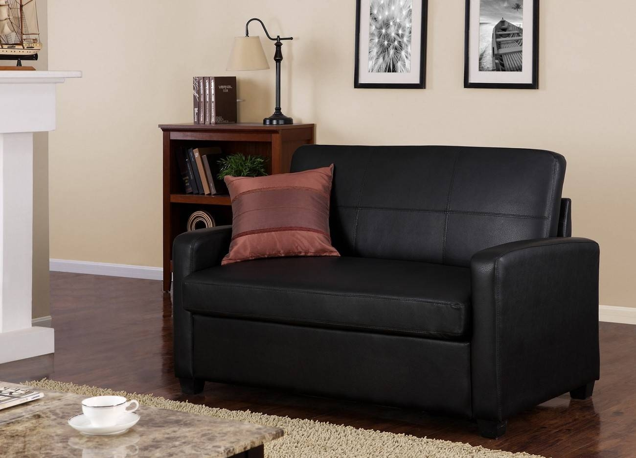 Mainstays | Black Faux Leather Sleeper Sofa for Mainstays Sleeper Sofas (Image 13 of 15)