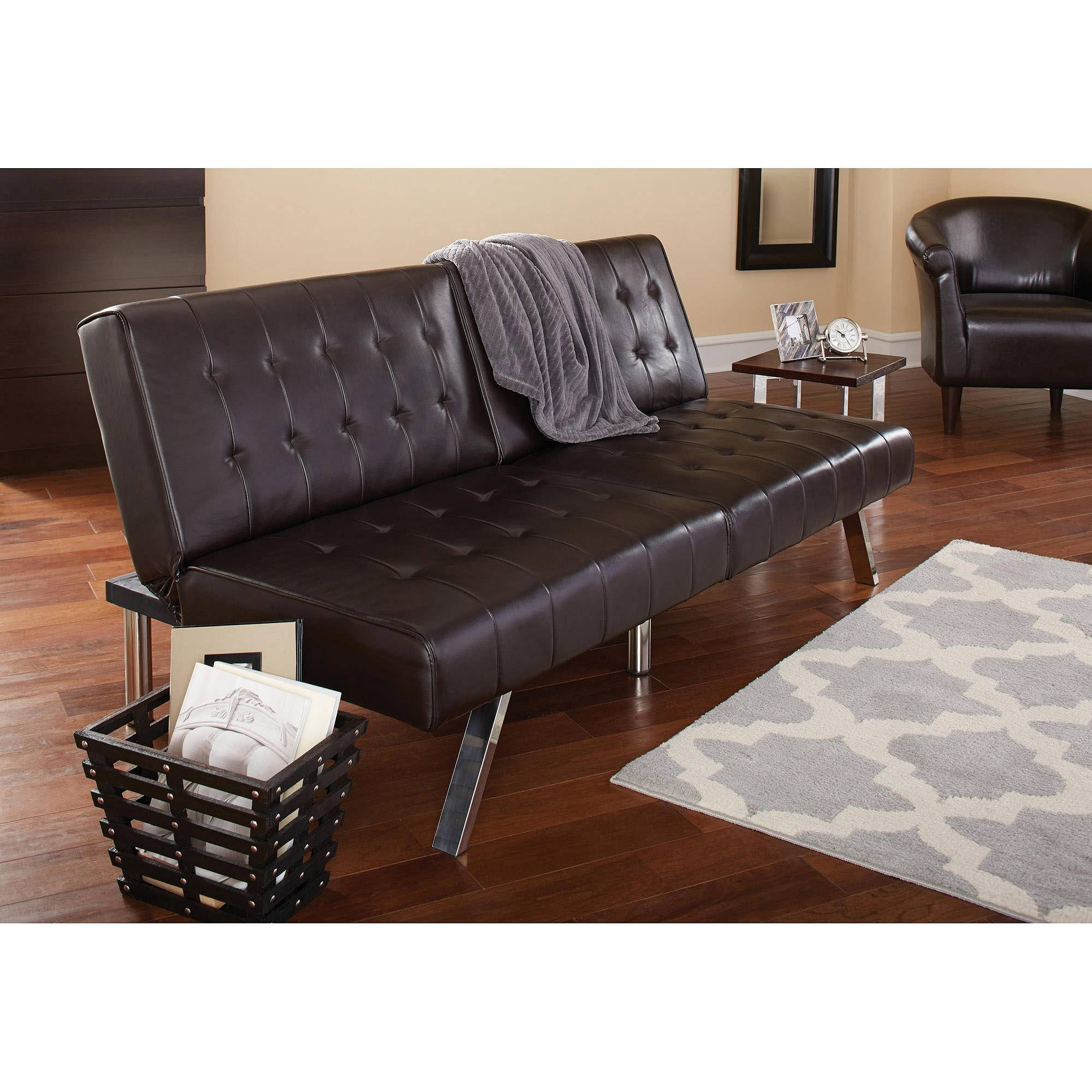 Mainstays Morgan Faux Leather Tufted Convertible Futon, Brown for Faux Leather Futon Sofas (Image 11 of 15)