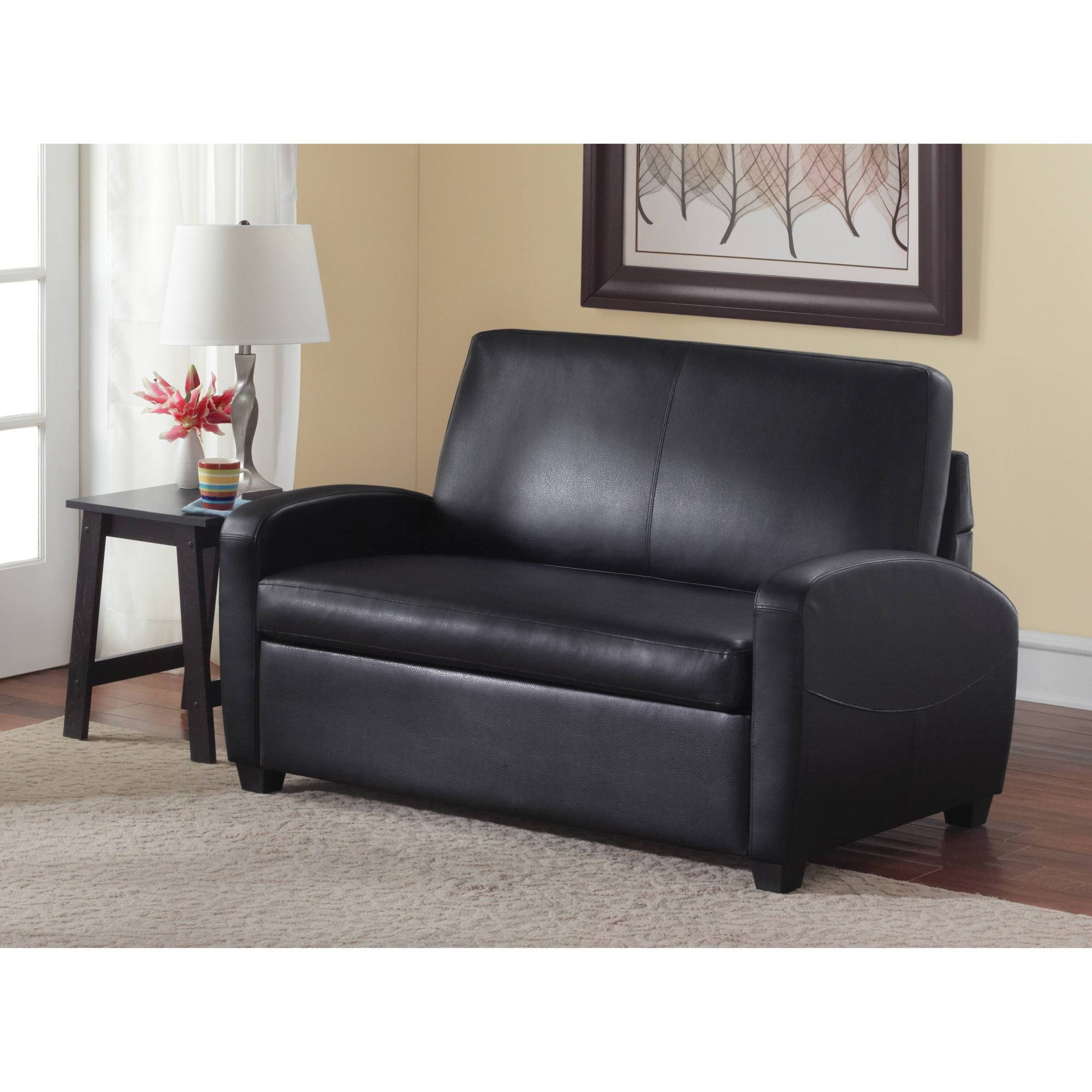 Mainstays Sofa Sleeper, Black - Walmart within Faux Leather Sleeper Sofas (Image 13 of 15)