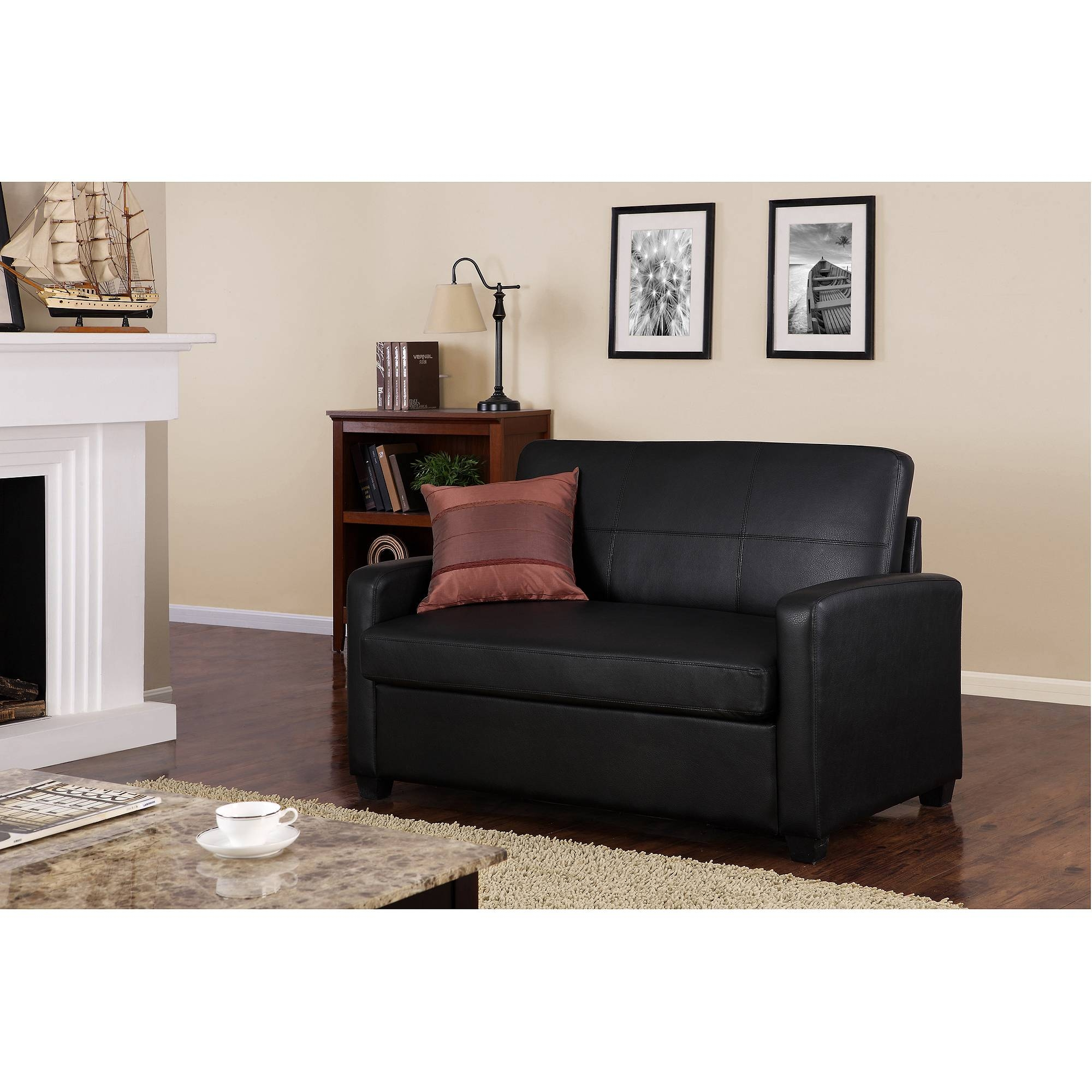 Mainstays Sofa Sleeper Brown Faux Leather | Centerfieldbar for Faux Leather Sleeper Sofas (Image 11 of 15)