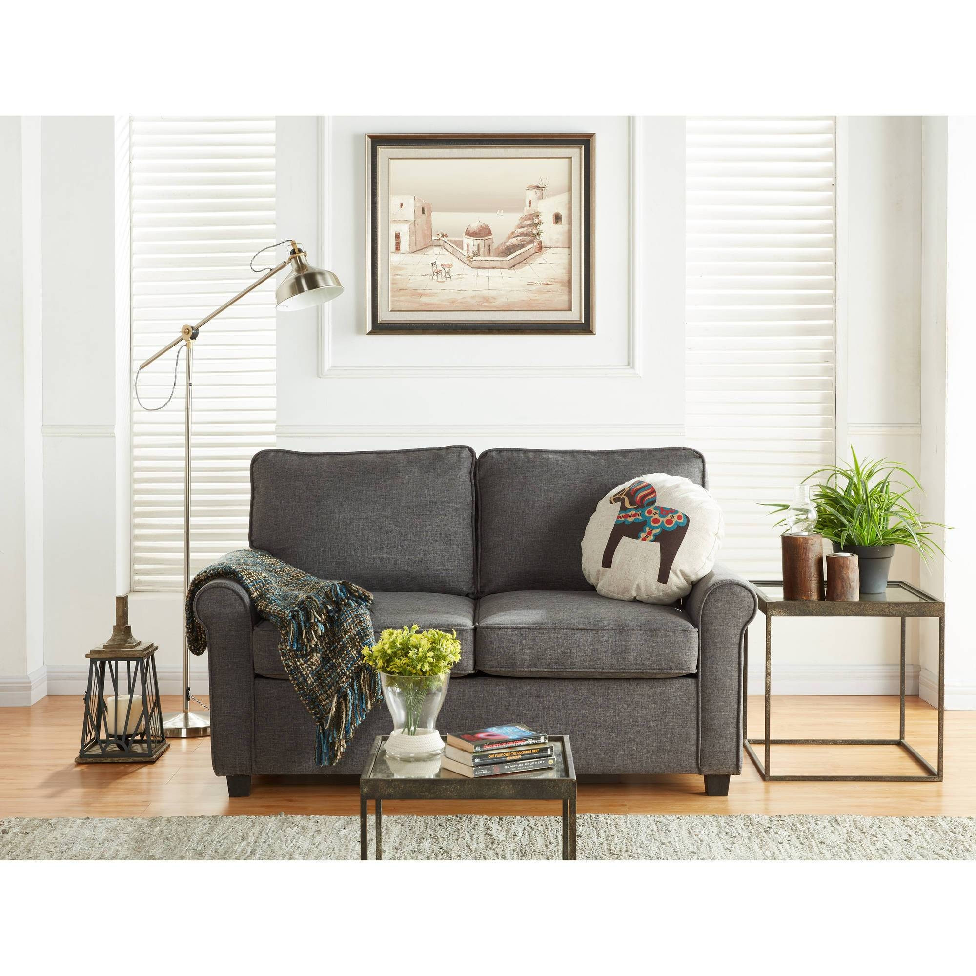 Mainstays Sofa Sleeper With Memory Foam Mattress, Grey - Walmart with regard to Mainstays Sleeper Sofas (Image 7 of 15)