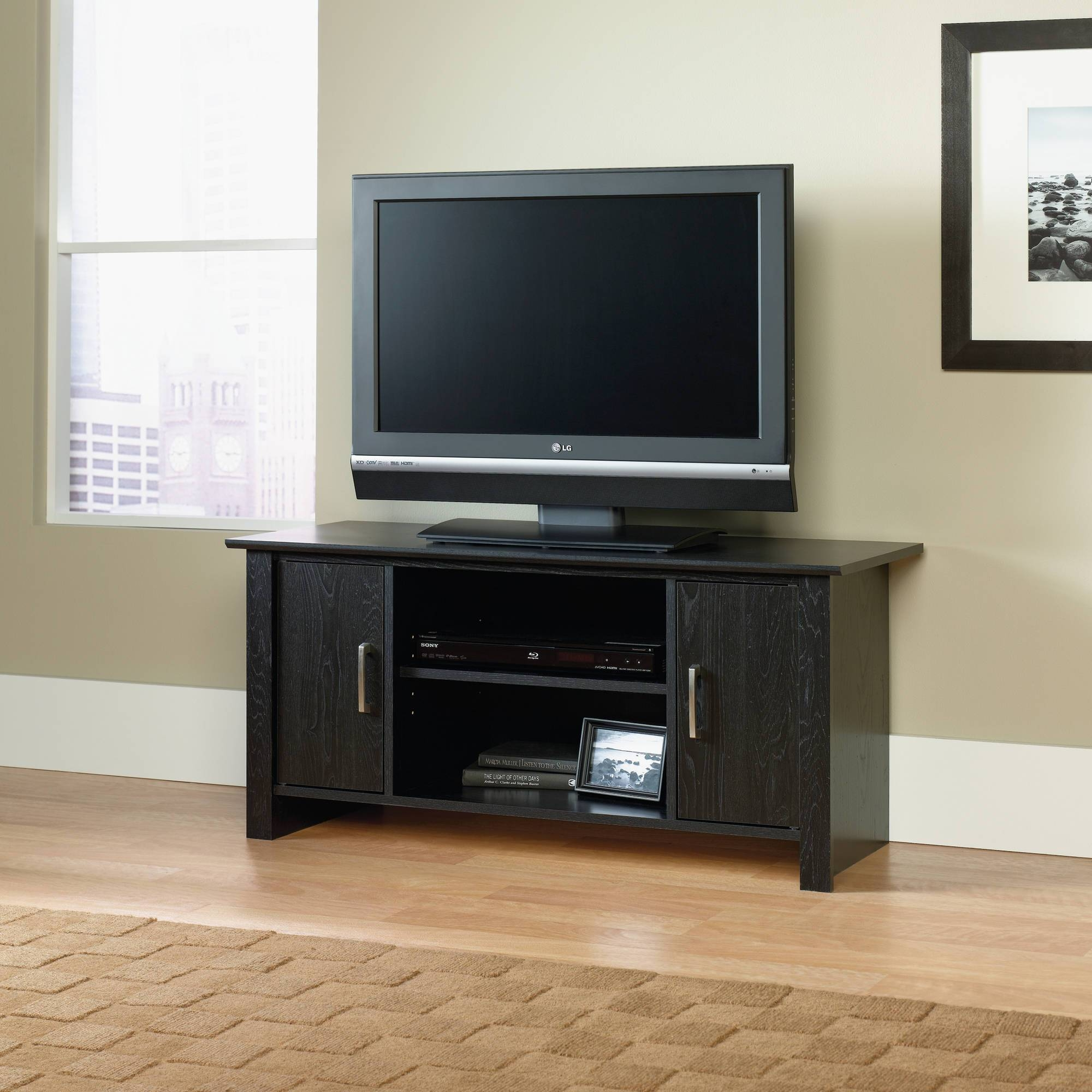 """Mainstays Tv Stand For Flat Screen Tvs Up To 47"""", Multiple Finish In Long Black Tv Stands (View 11 of 15)"""