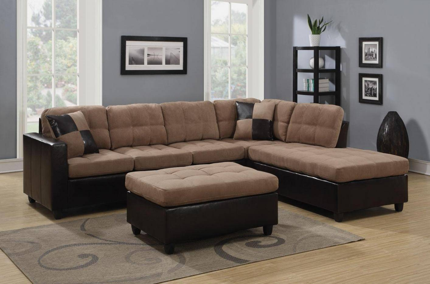 Mallory Beige Leather Sectional Sofa   Steal A Sofa Furniture Regarding Beige Sofas (Photo 13 of 15)