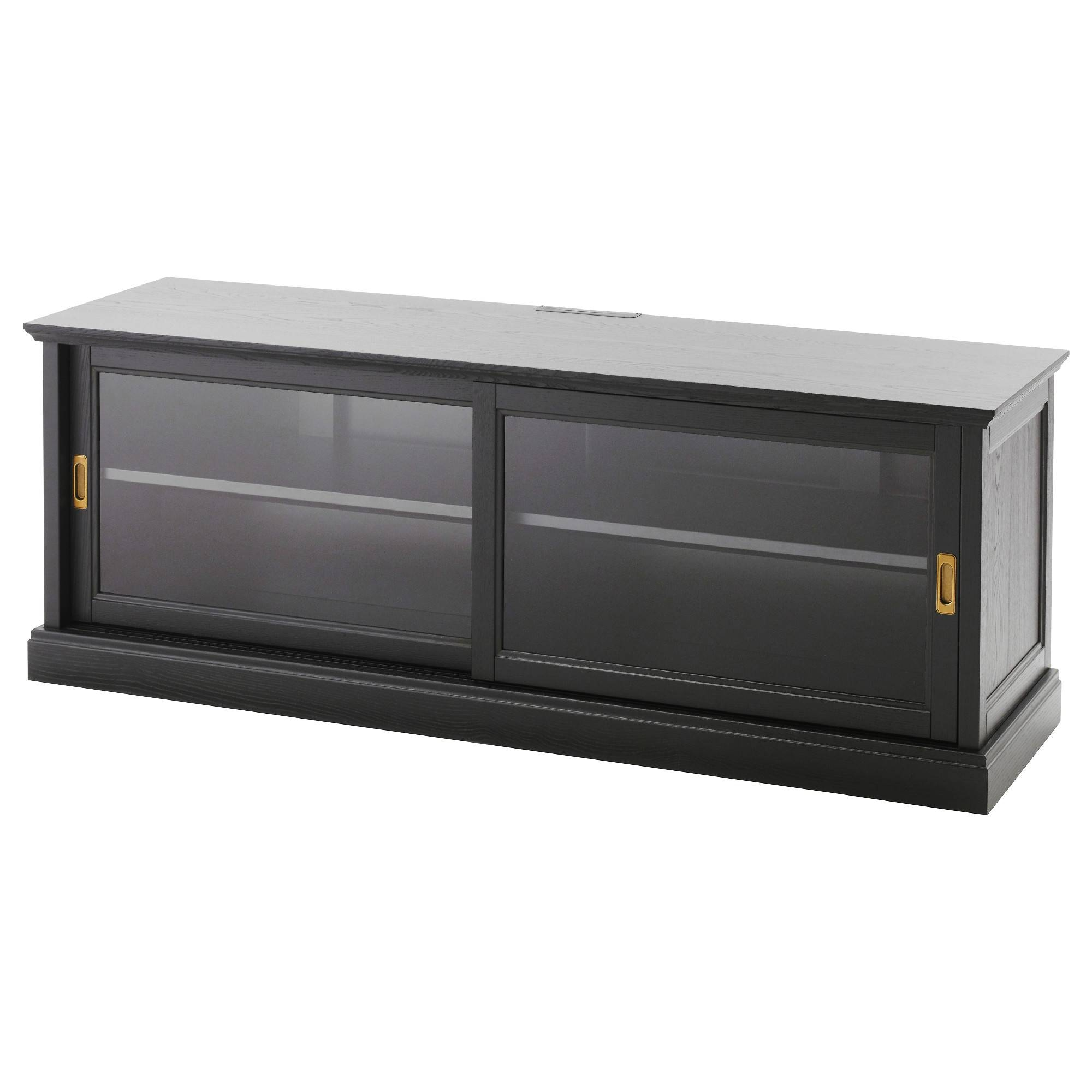 Malsjö Tv Bench With Sliding Doors Black Stained 160X48 Cm - Ikea with Black Tv Cabinets With Doors (Image 12 of 15)