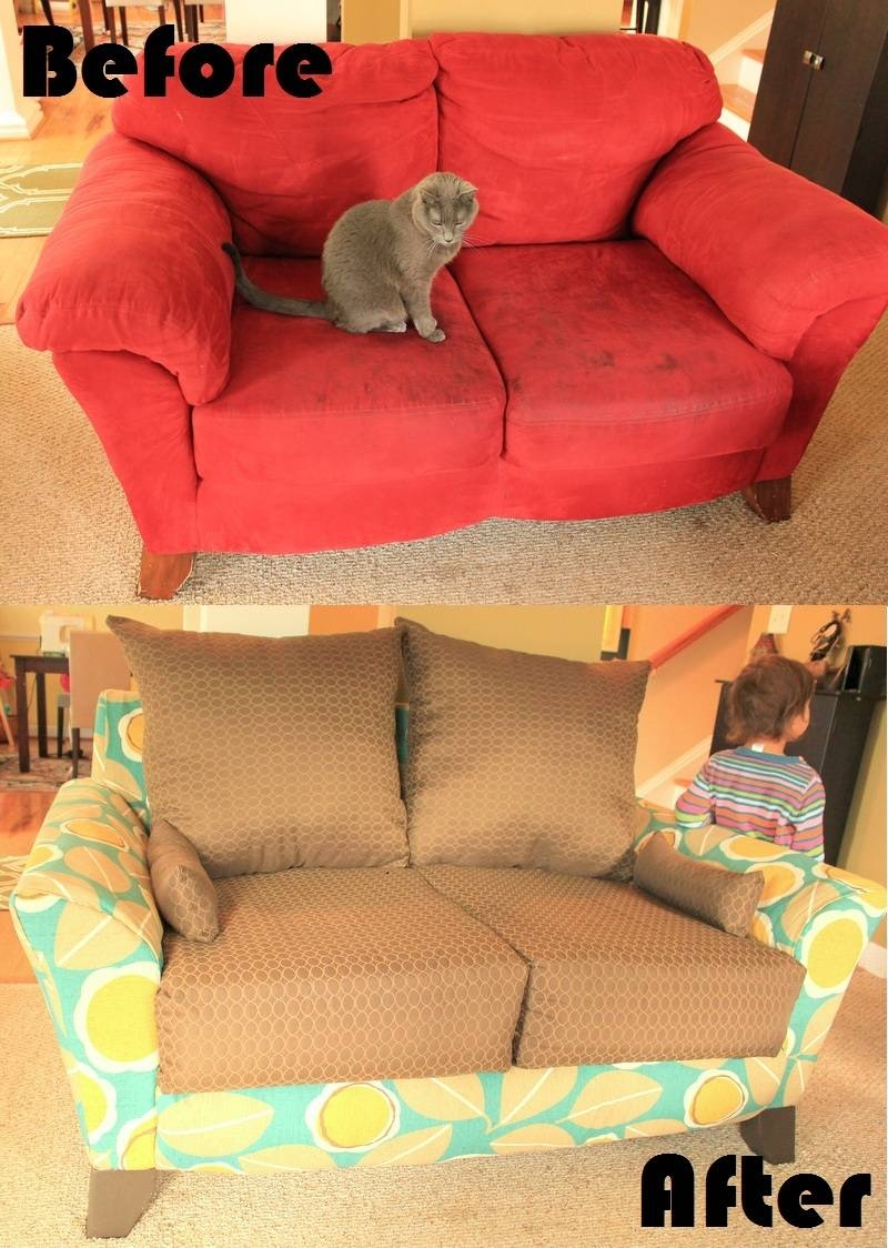 Mandy Made: Lovin' My New Loveseat: Totally Rad Reupholstery inside Reupholster Sofas Cushions (Image 13 of 15)