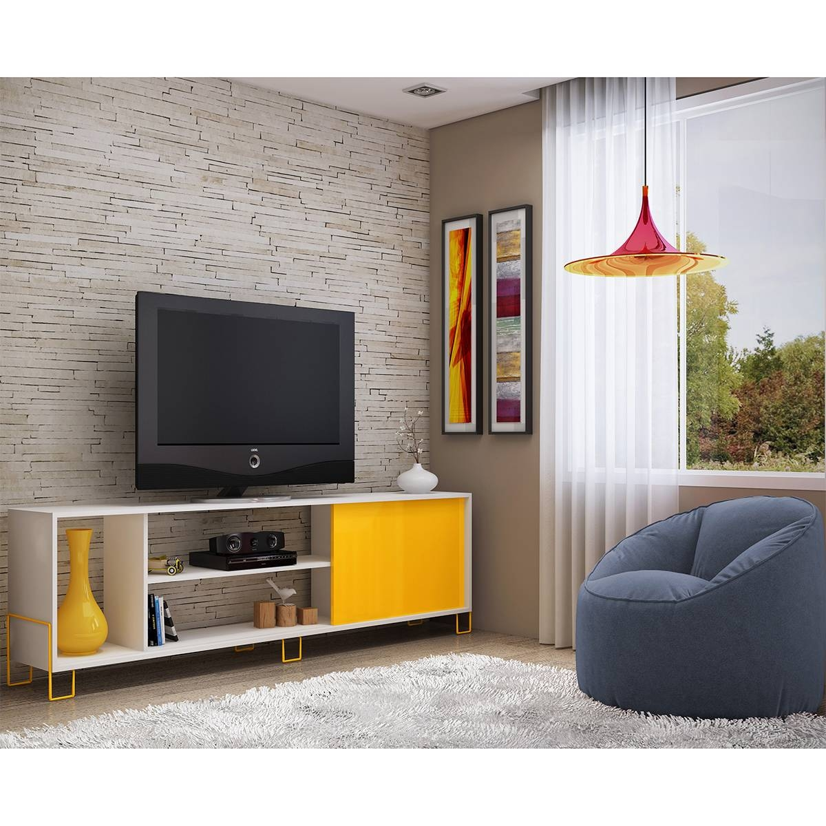 "Manhattan Comfort 9Amc128 Nacka 70"" Tv Stand 1.0 In White W pertaining to Yellow Tv Stands (Image 6 of 15)"