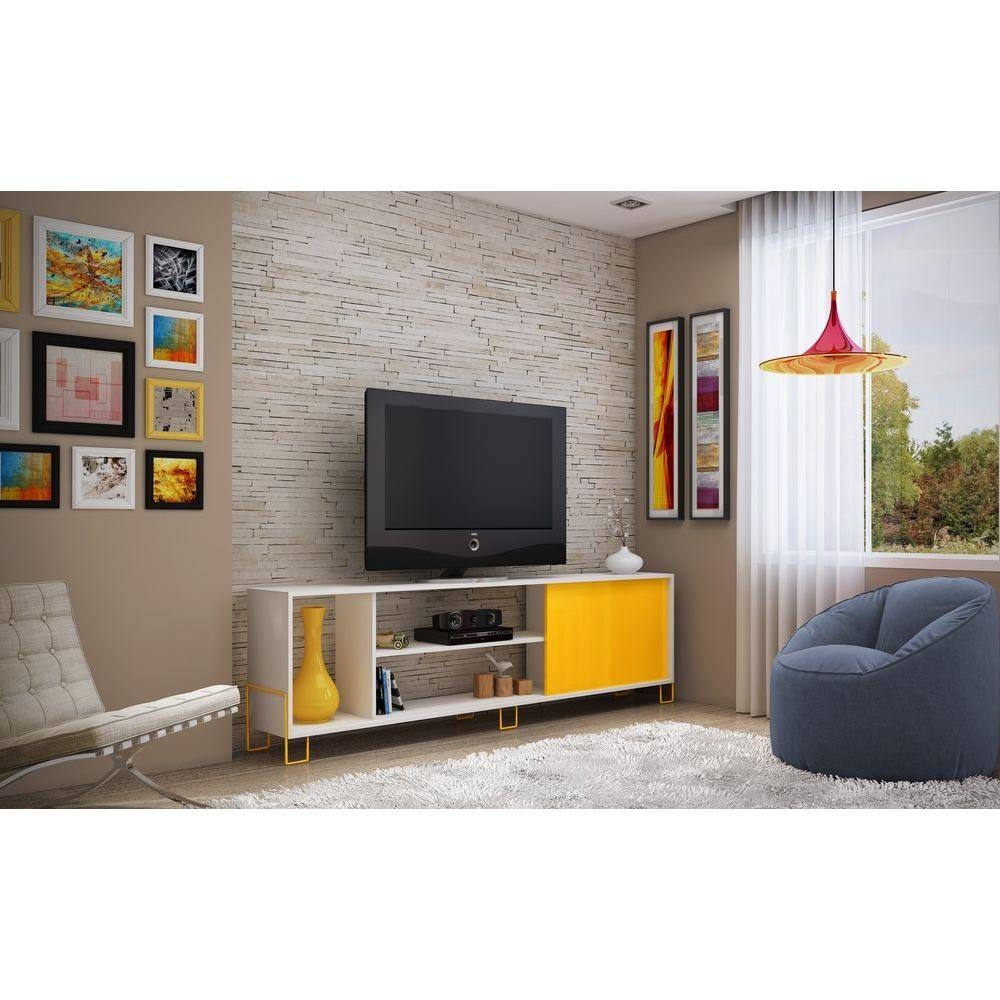 Manhattan Comfort Nacka 1.0 White And Yellow Storage Entertainment with regard to Yellow Tv Stands (Image 7 of 15)