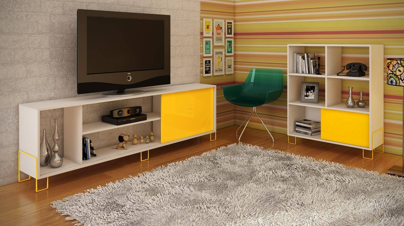 Manhattan Comfort Nacka Tv Stand 1.0 In White And Yellow - Beyond pertaining to Yellow Tv Stands (Image 8 of 15)