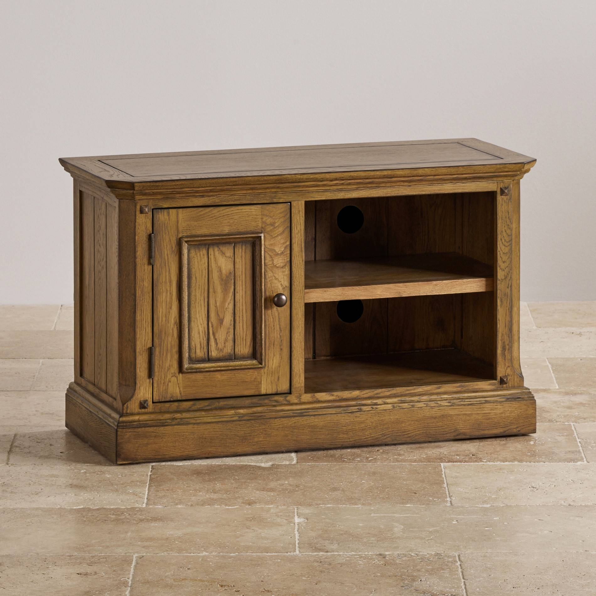 Manor House Small Tv Unit In Solid Oak | Oak Furniture Land Inside Small Oak Tv Cabinets (View 9 of 15)