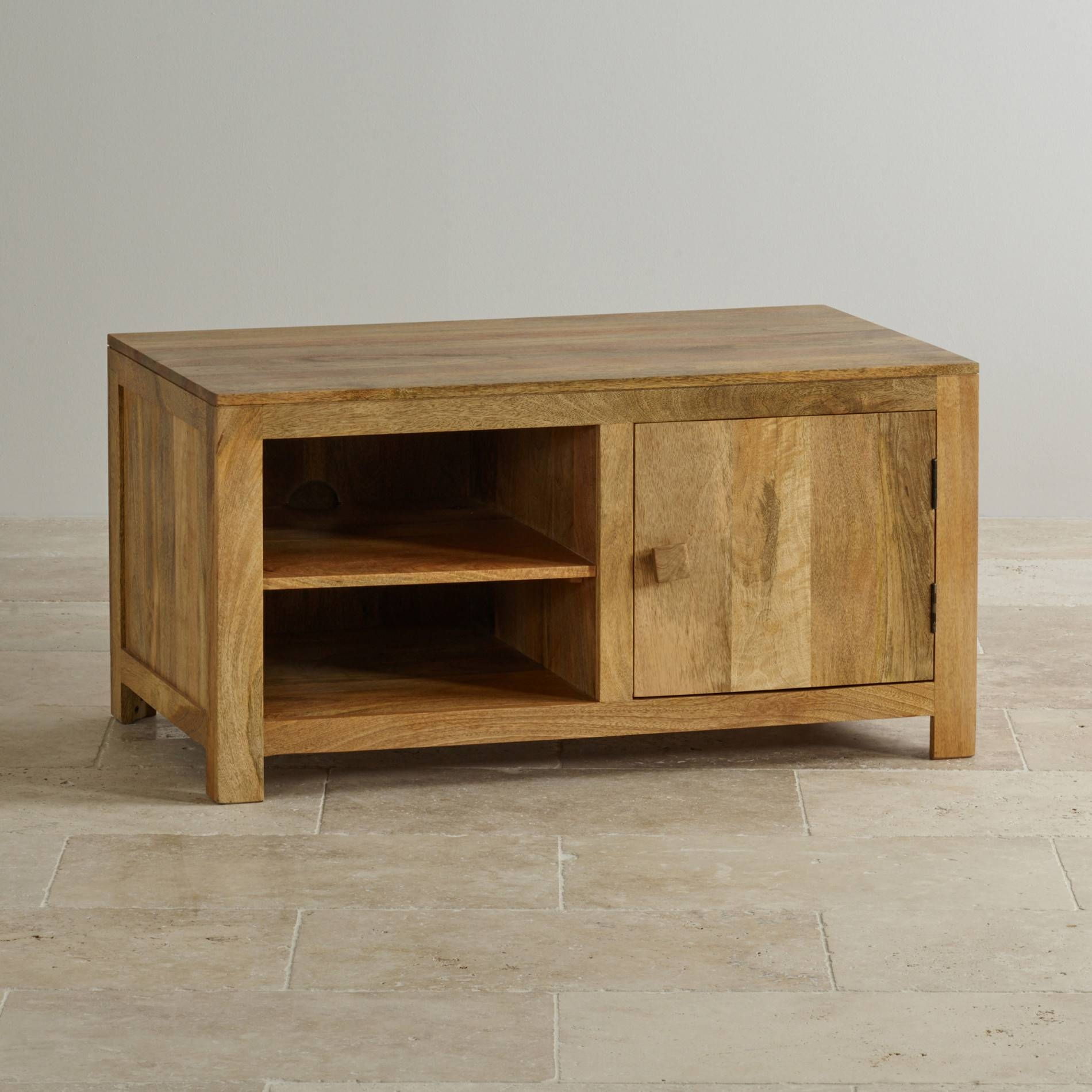Mantis Light Widescreen Tv + Dvd Cabinet In Natural Solid Mango Intended For Mango Tv Units (View 11 of 15)