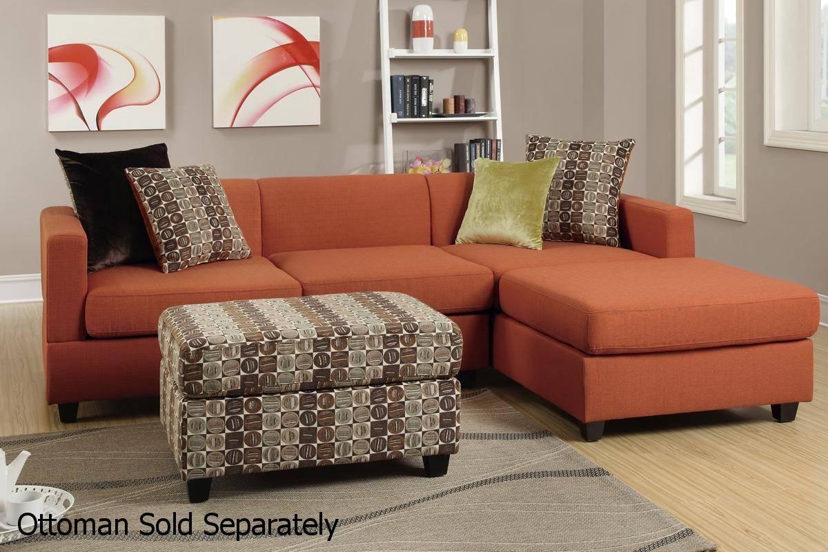 Maribel Orange Fabric Sectional Sofa - Steal-A-Sofa Furniture regarding Orange Sectional Sofas (Image 11 of 15)