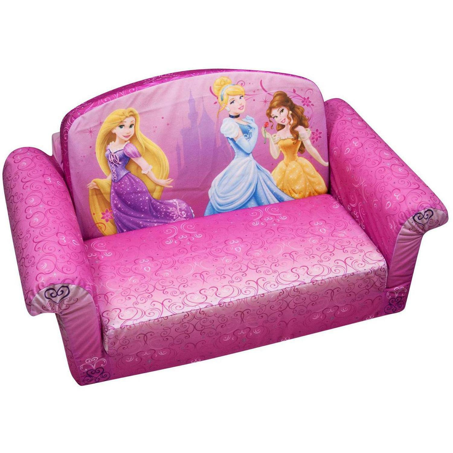 Marshmallow 2-In-1 Flip Open Sofa, Disney Princess - Walmart intended for Disney Princess Sofas (Image 8 of 15)