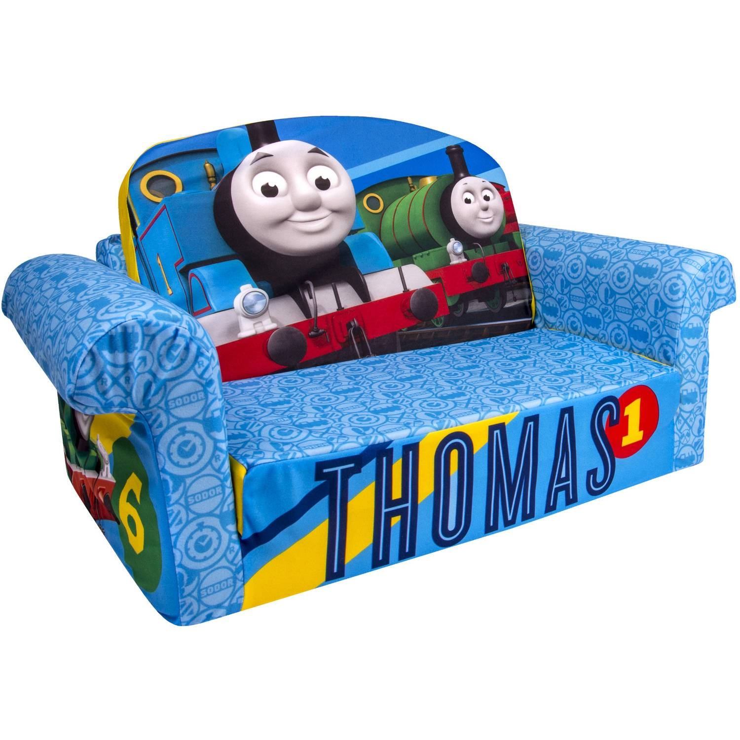 Marshmallow 2-In-1 Flip-Open Sofa, Thomas & Friends - Walmart intended for Flip Open Sofas for Toddlers (Image 9 of 15)