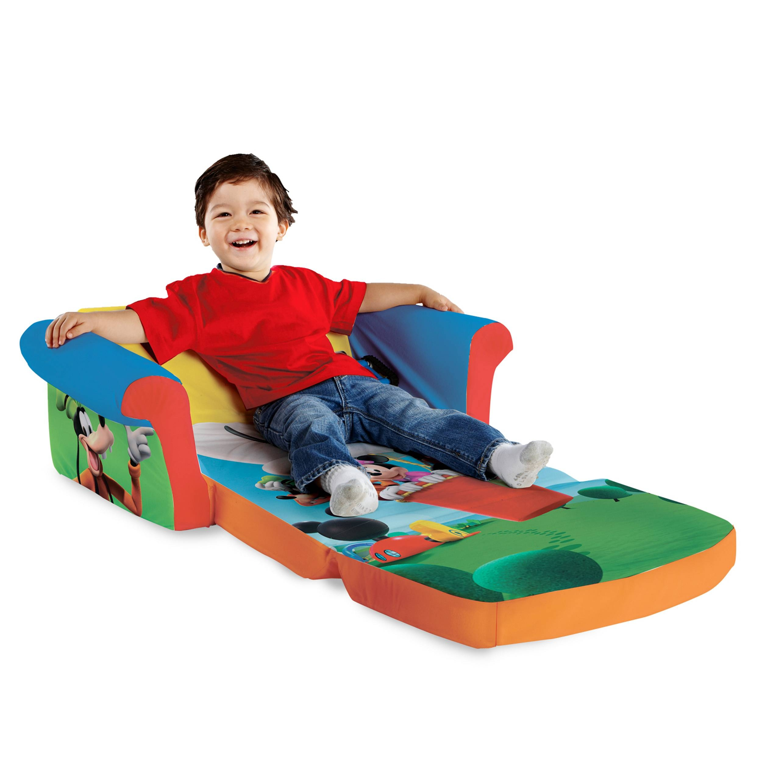 Marshmallow Furniture, Children's 2 In 1 Flip Open Foam Sofa for Mickey Mouse Clubhouse Couches (Image 4 of 15)