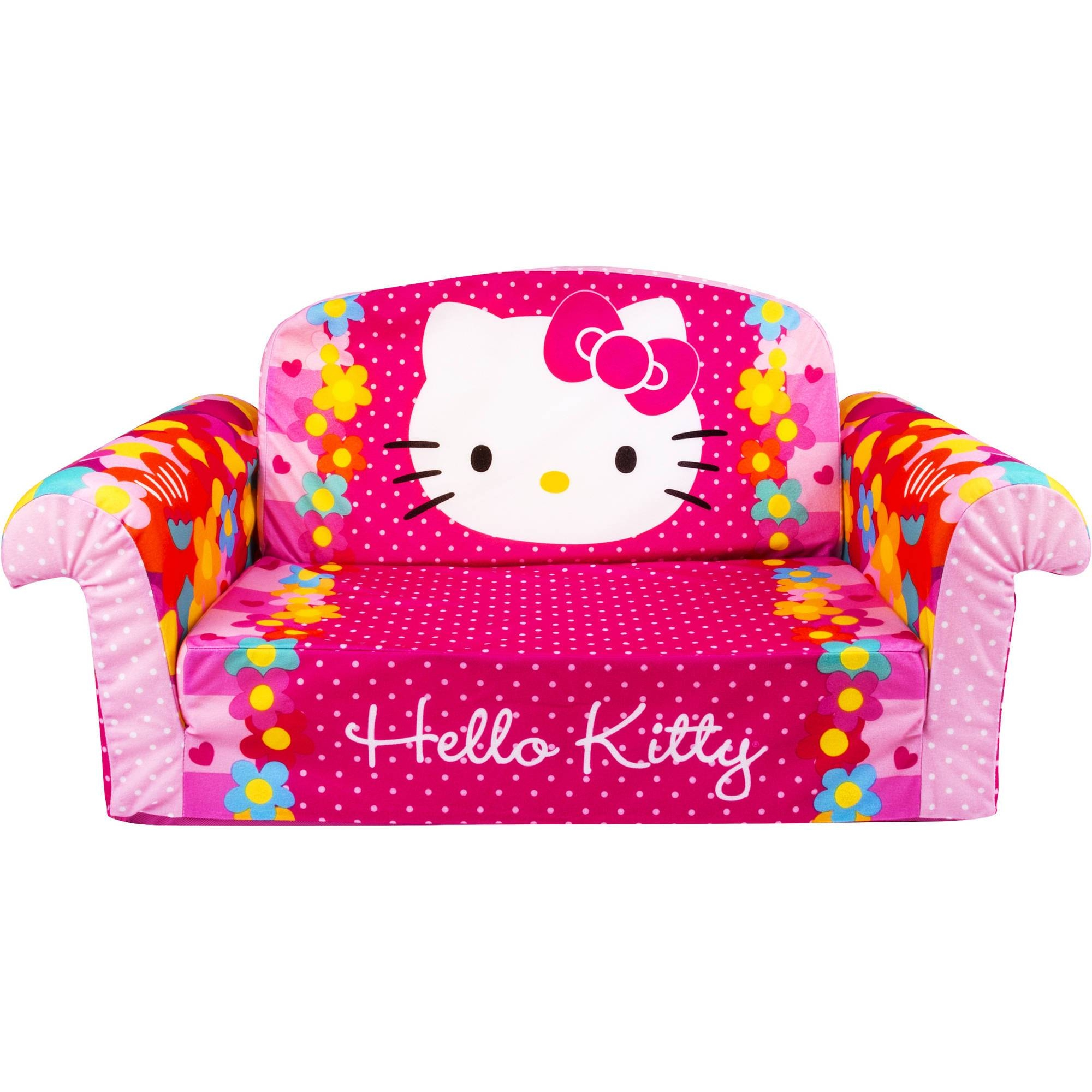 Marshmallow Furniture Flip Open Sofa, Hello Kitty - Walmart intended for Sofa Beds For Baby (Image 8 of 15)