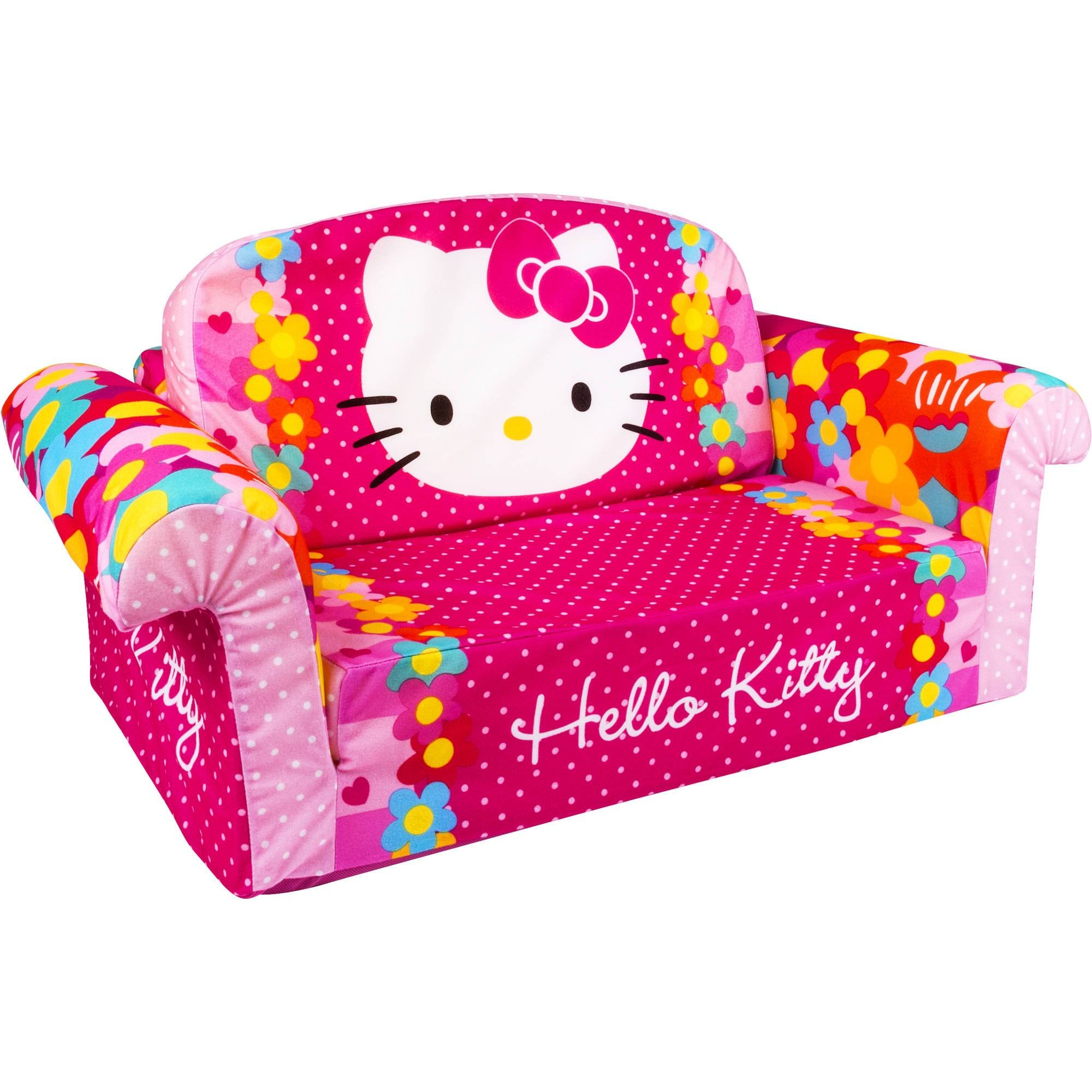 Marshmallow Furniture Flip Open Sofa, Hello Kitty - Walmart throughout Flip Open Couches (Image 8 of 15)