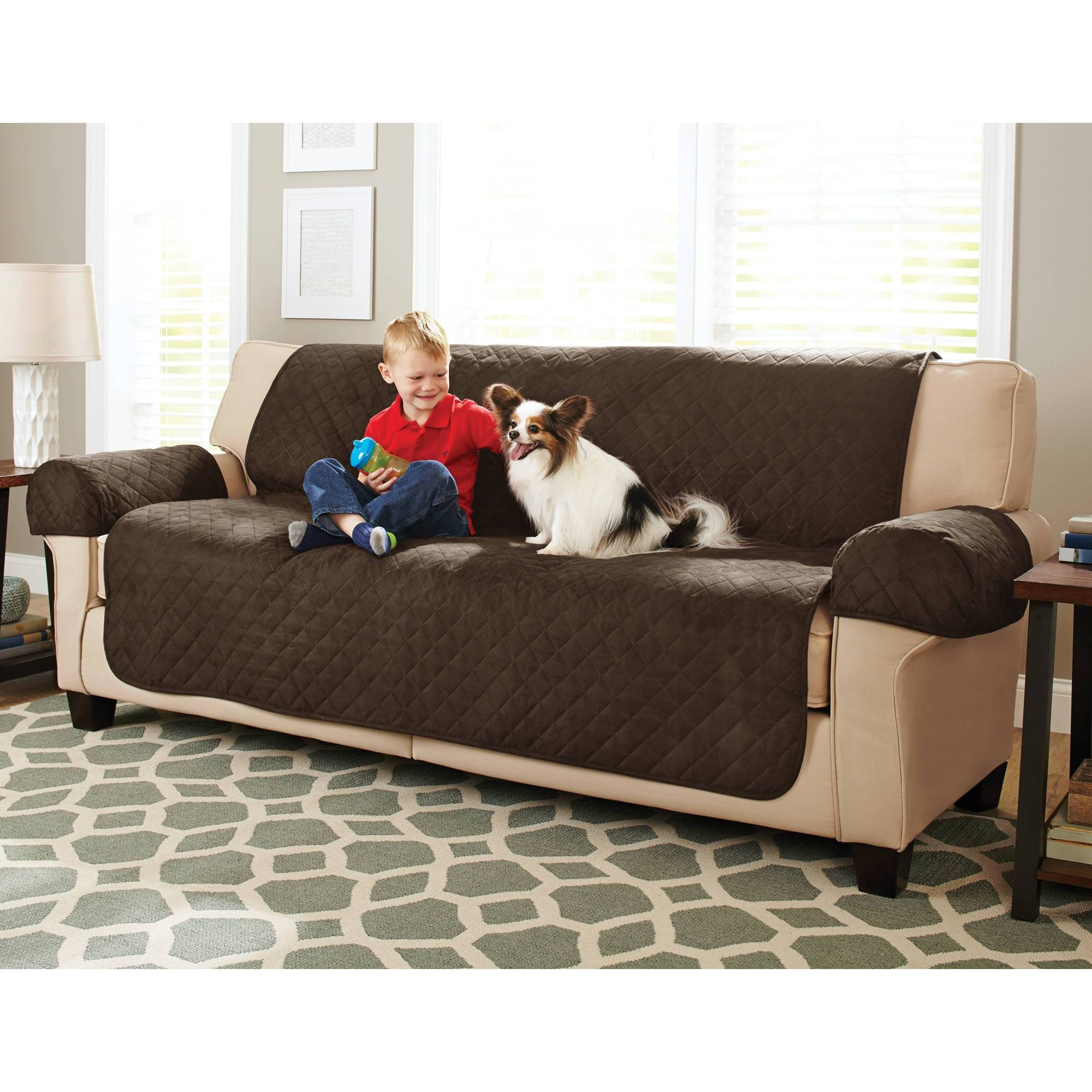 Maytex Stretch 2-Piece Sofa Slipcover - Walmart intended for Black Sofa Slipcovers (Image 8 of 15)