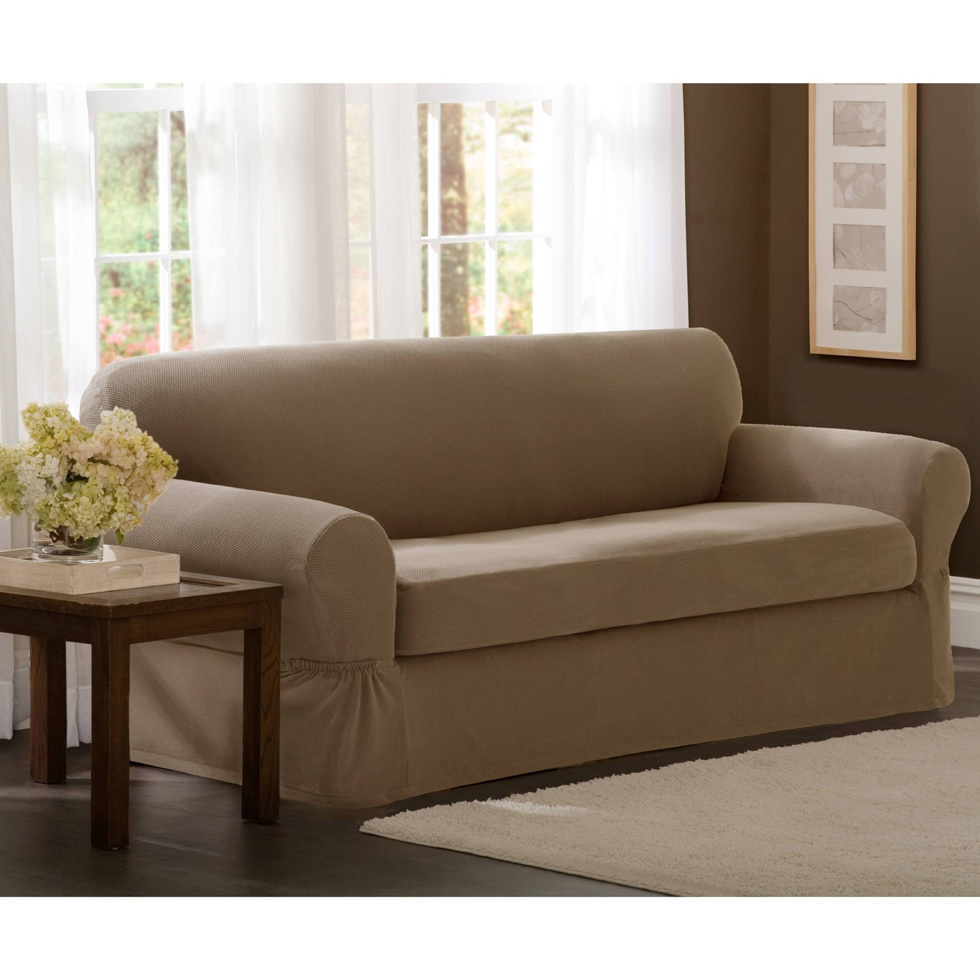Maytex Stretch 2-Piece Sofa Slipcover - Walmart regarding Stretch Slipcover Sofas (Image 9 of 15)