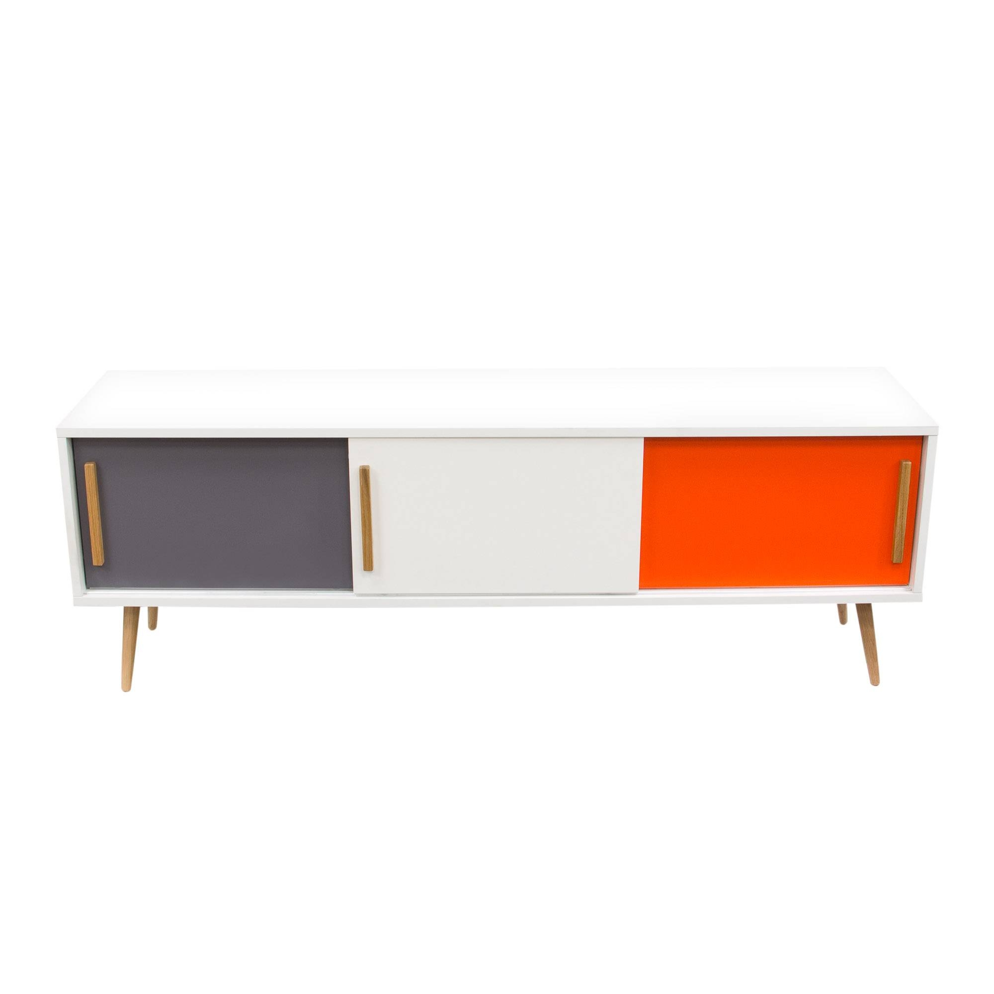Mc Vanderbilt And Cabrini 2.2 Tv Stand And Panel White Gloss – Pop in Orange Tv Stands (Image 5 of 15)