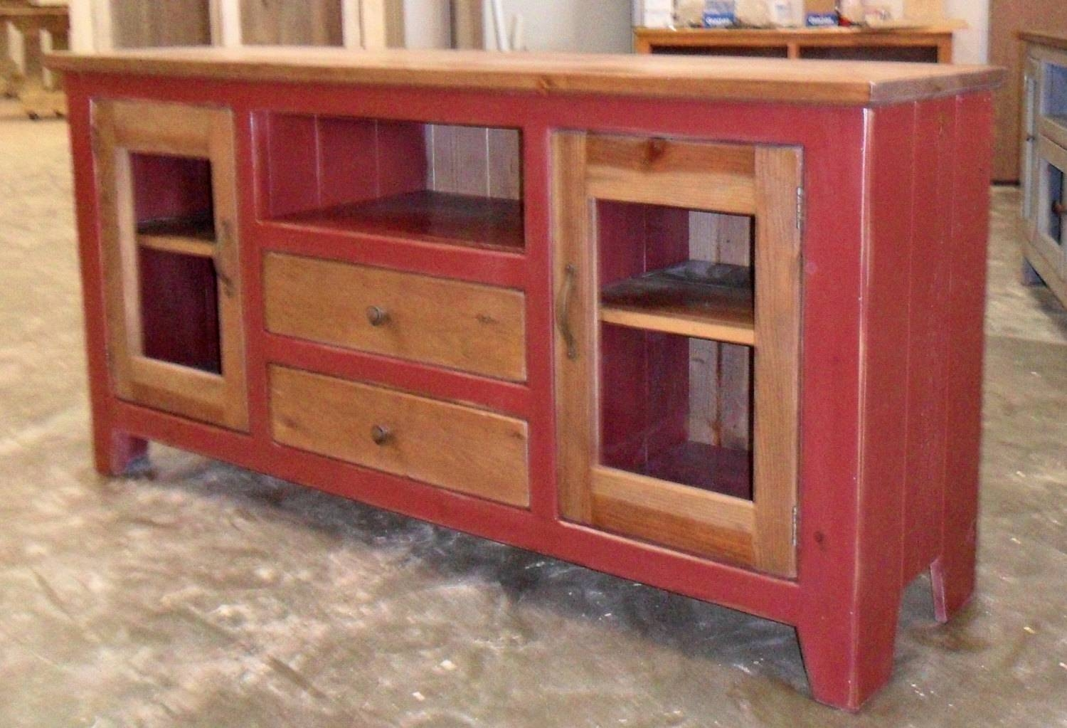 Media Cabinet Reclaimed Wood Tv Stand Rustic Vintage With Regard To Red Tv Cabinets (View 10 of 15)