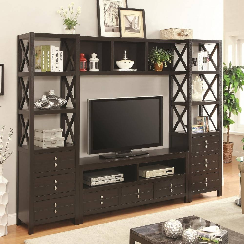 Media Tower For Tv Stands With 3 Drawers And 3 Shelves/bookshelf With Tv Stands And Bookshelf (View 6 of 15)