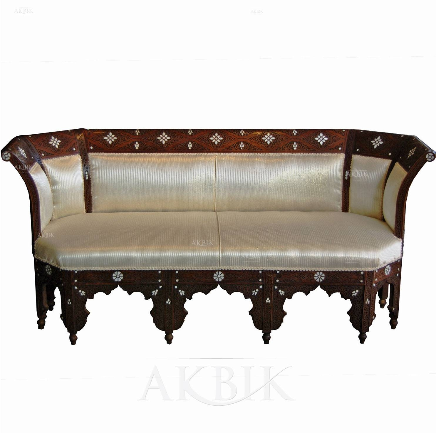 Mediterranean, Levantine & Syrian Furniture Inlaid With Mother Of inside Bench Style Sofas (Image 5 of 15)