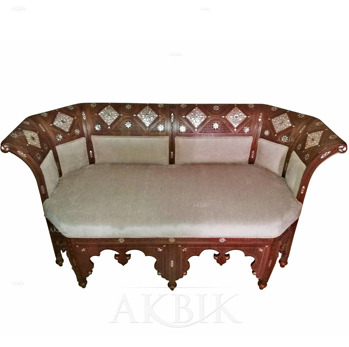 Mediterranean, Levantine & Syrian Furniture Inlaid With Mother Of with Bench Style Sofas (Image 6 of 15)