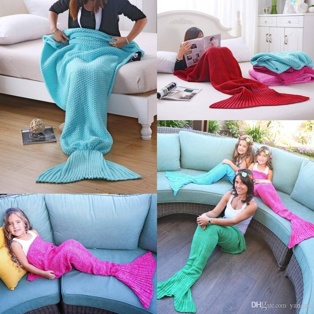 Mermaid Blanket Yarn Knitted Handmade Crochet Family Pajama Xmas for Sofa Beds For Baby (Image 10 of 15)