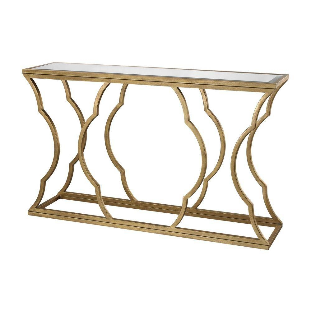 Metal Cloud Antique Gold Leaf Mirrored Top Console Table-Tn-892350 for Gold Sofa Tables (Image 7 of 15)