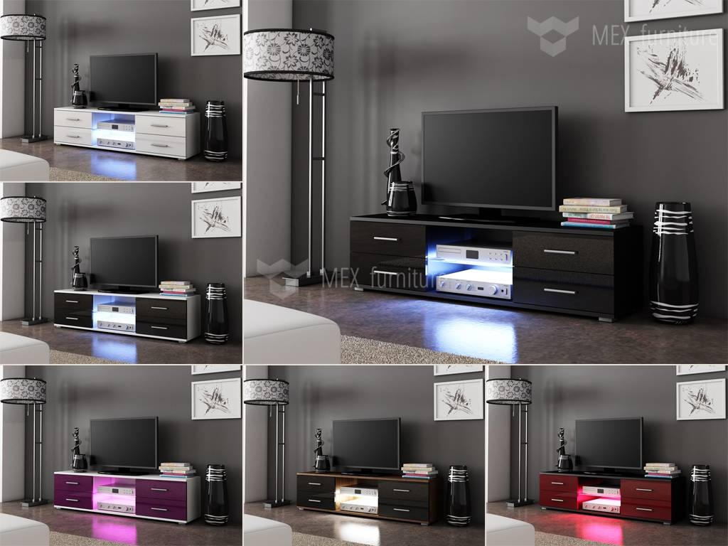 Mex Furniture » Modern Tv Unit [010], 4 Drawers And Glass Shelf with regard to 150Cm Tv Unit (Image 3 of 15)