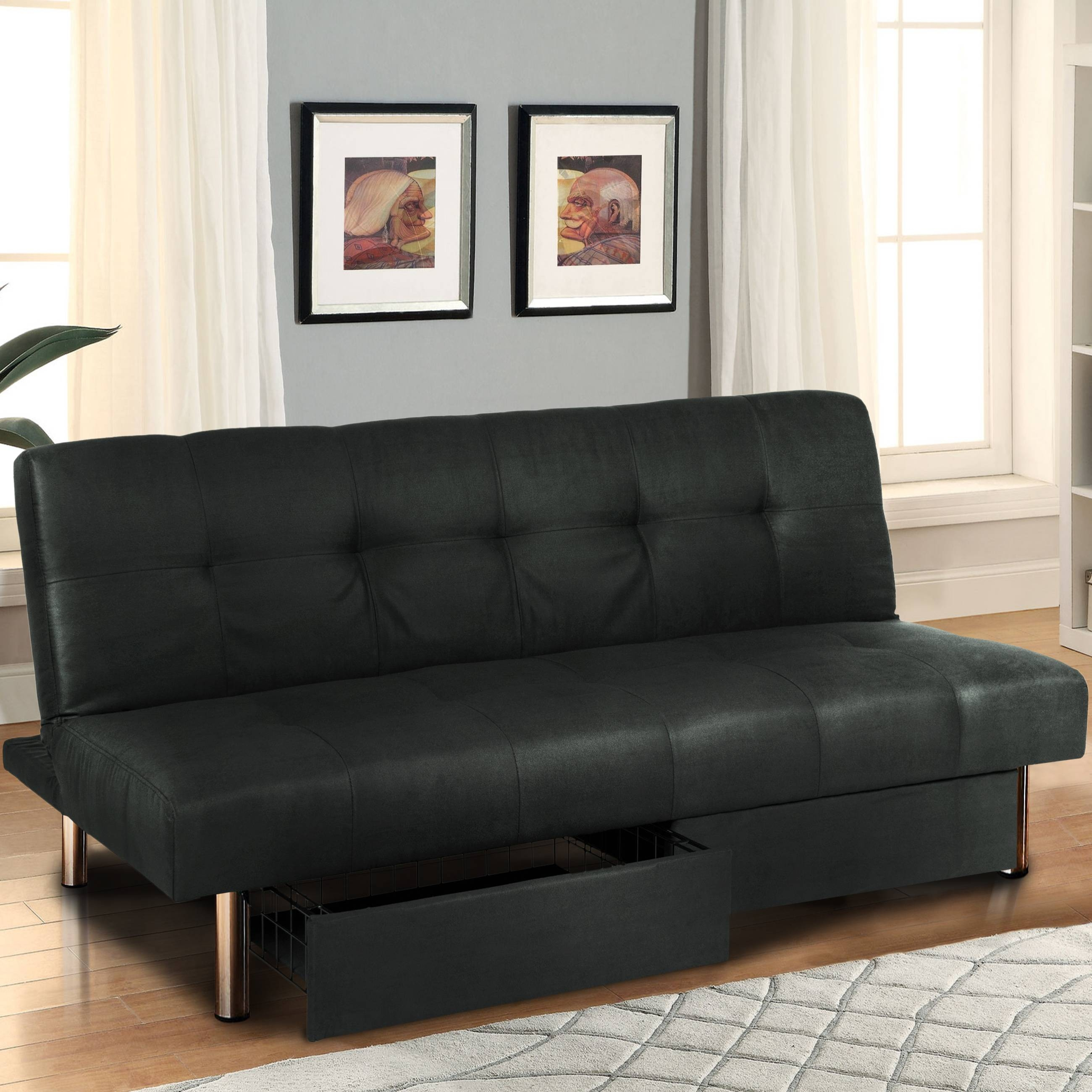 Microfiber Futon Folding Sofa Bed Couch Mattress & Storage pertaining to Leather Fouton Sofas (Image 11 of 15)
