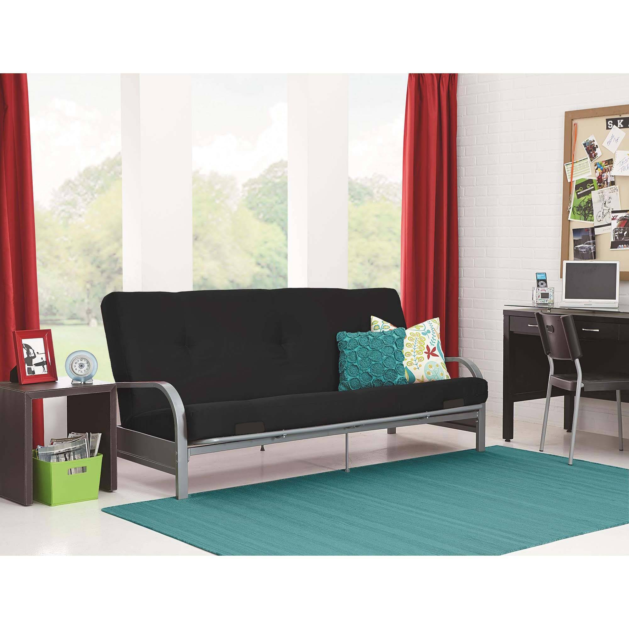 Microfiber Futon Folding Sofa Bed Couch Mattress & Storage within Small Black Futon Sofa Beds (Image 10 of 15)