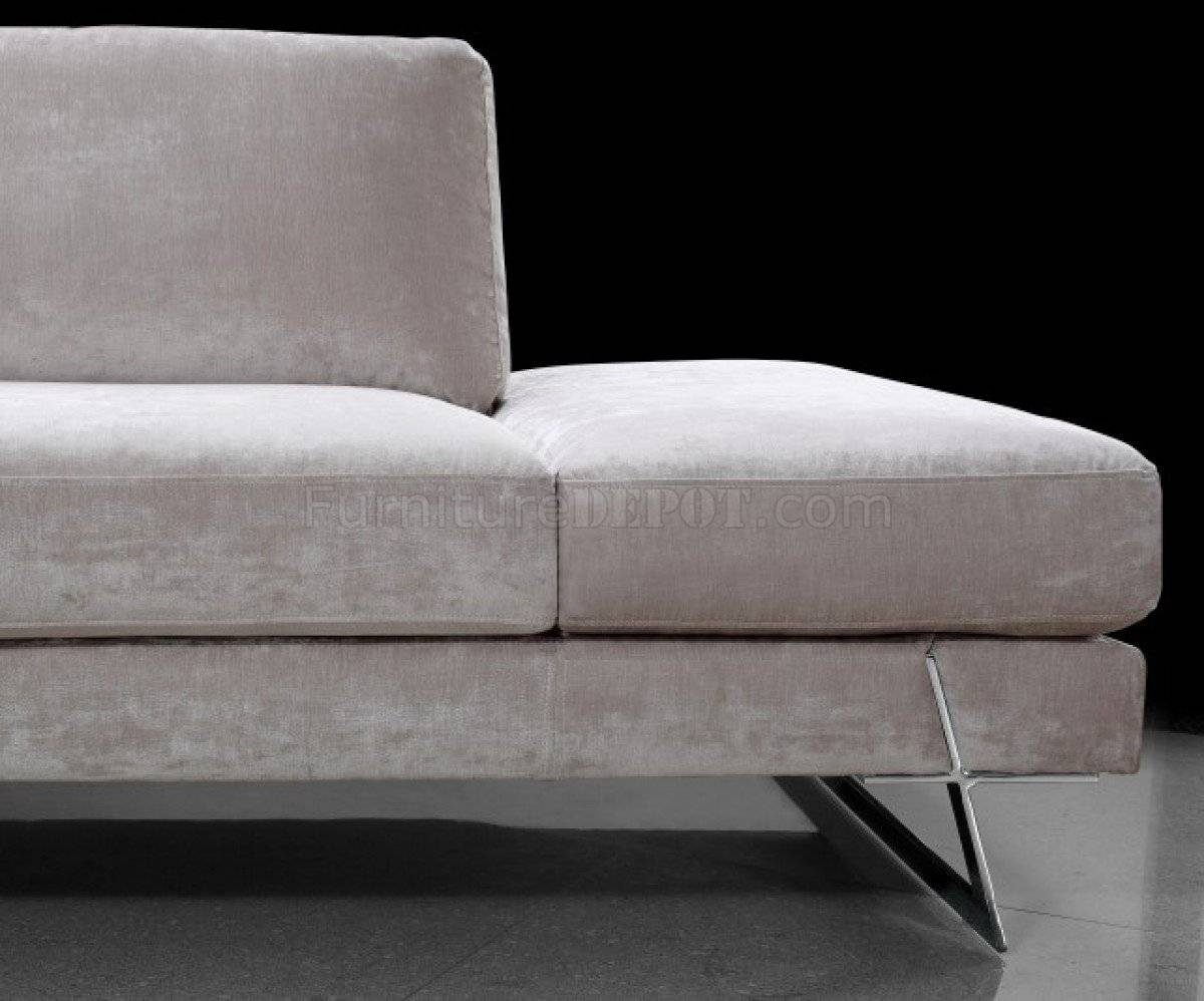 Microfiber Modern Sectional Sofa W/chrome Metal Legs pertaining to Sofas With Chrome Legs (Image 12 of 15)