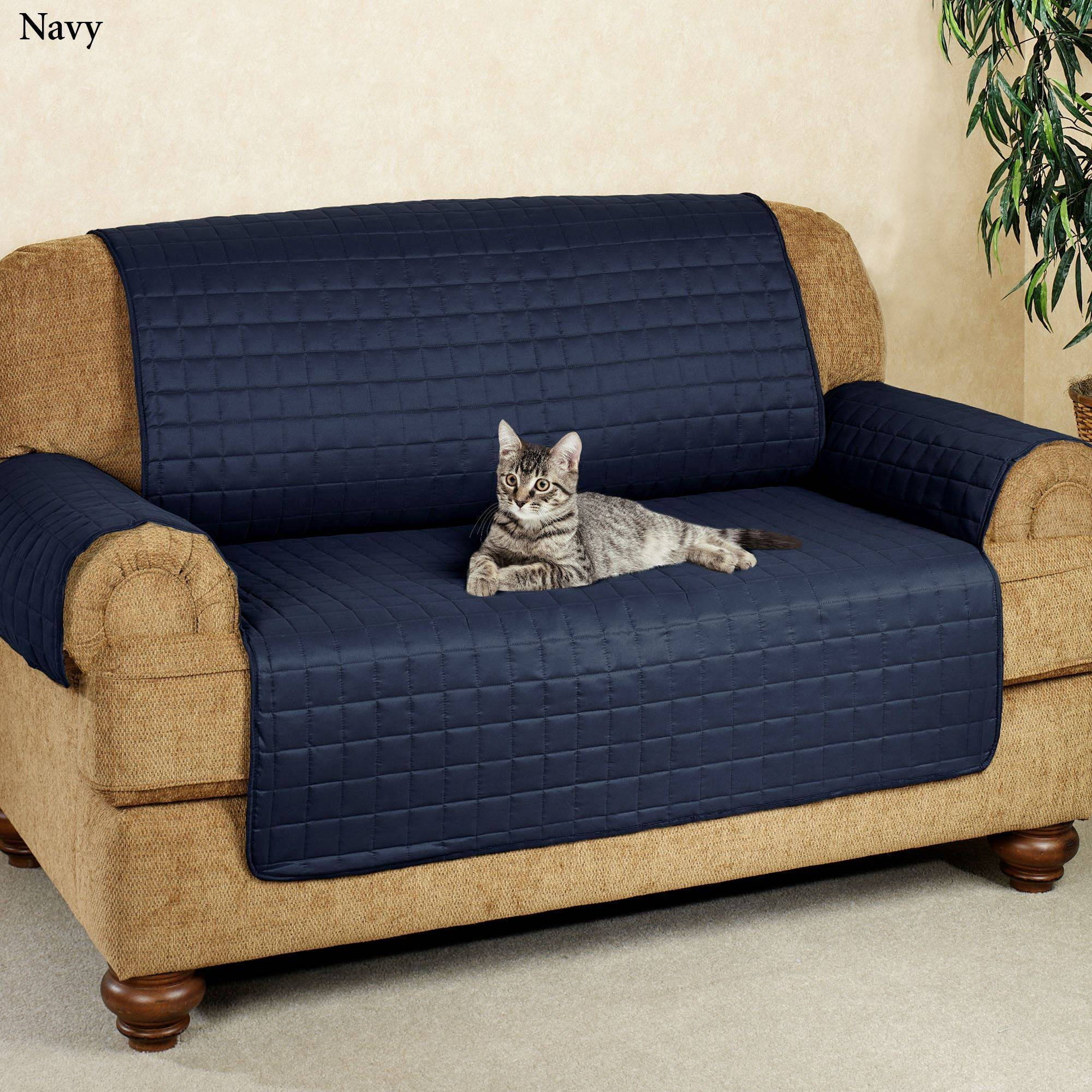 Microfiber Pet Furniture Covers With Tuck In Flaps pertaining to Navy Blue Slipcovers (Image 13 of 15)