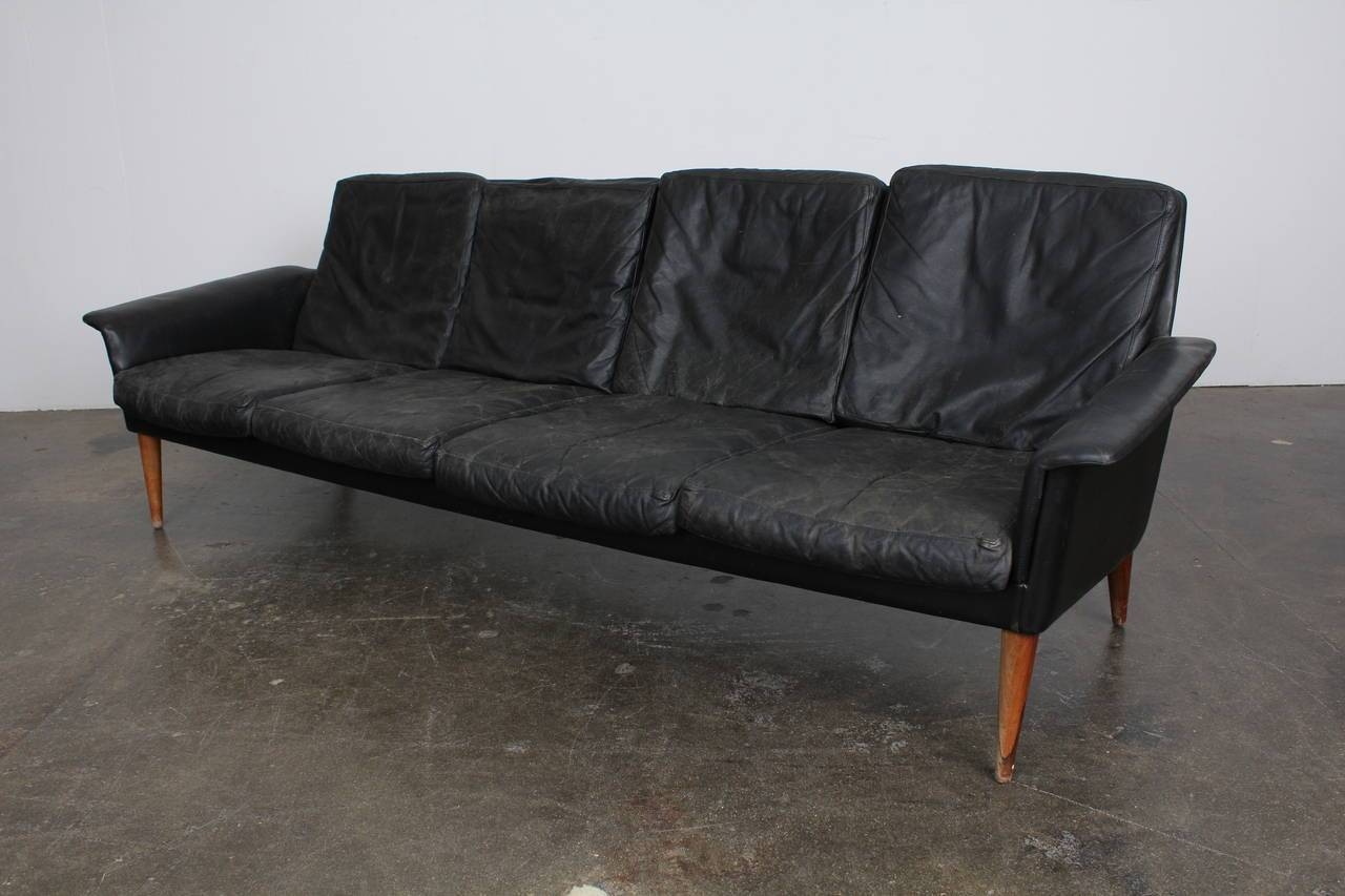 Mid Century Danish Four Seat Black Leather Sofah.w. Klein At with Danish Leather Sofas (Image 12 of 15)