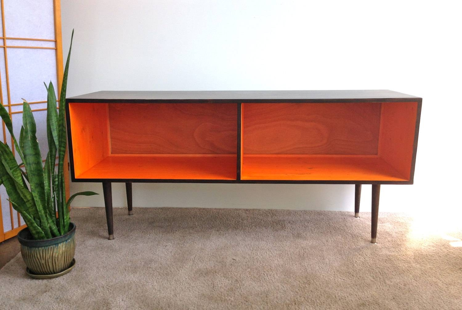 Mid Century Modern Record Player Cabinet Media Table Tv Stand Throughout Orange Tv Stands (View 3 of 15)