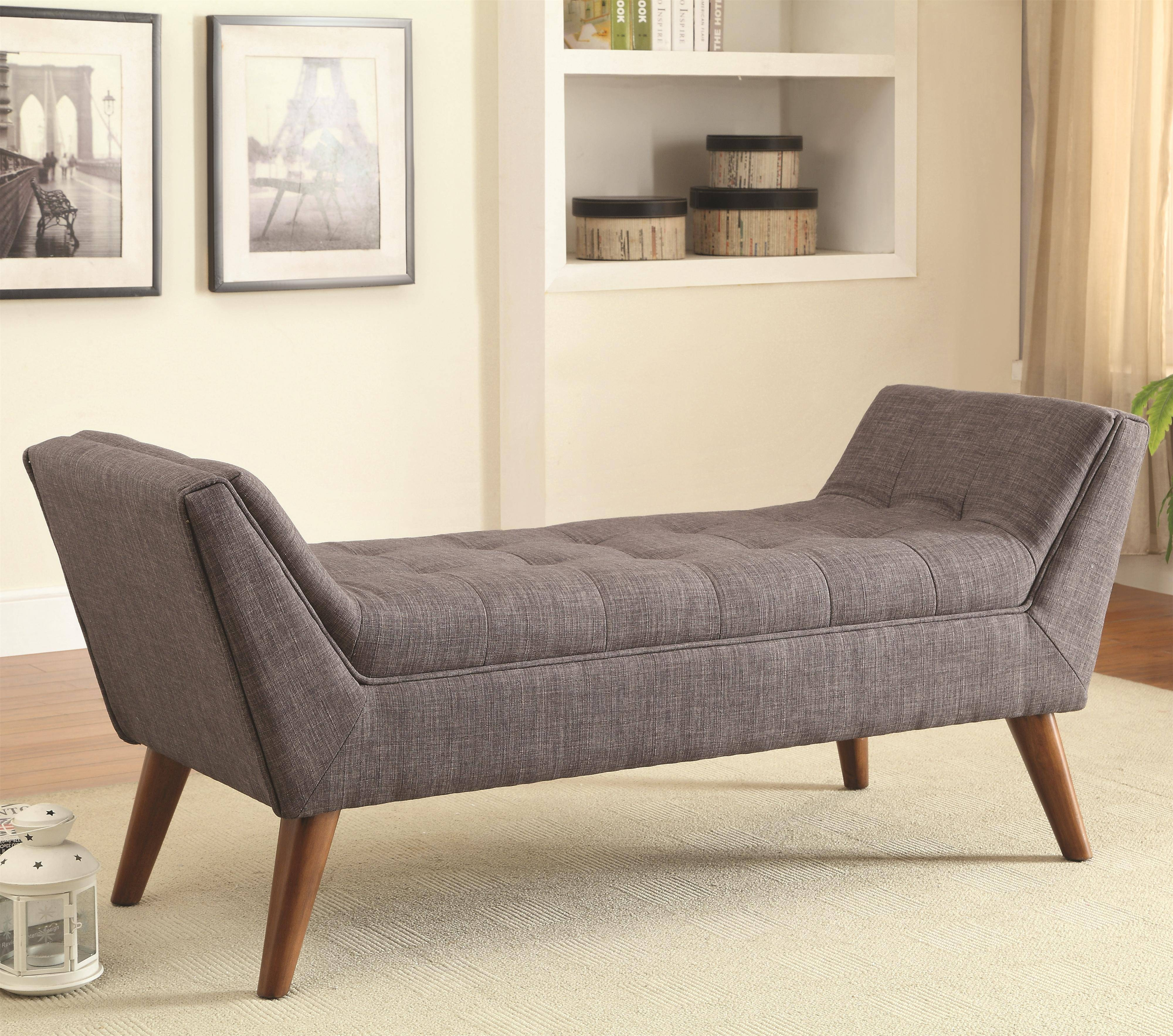 Mid-Century Modern Upholstered Accent Benchcoaster | Wolf And intended for Bedroom Bench Sofas (Image 13 of 15)