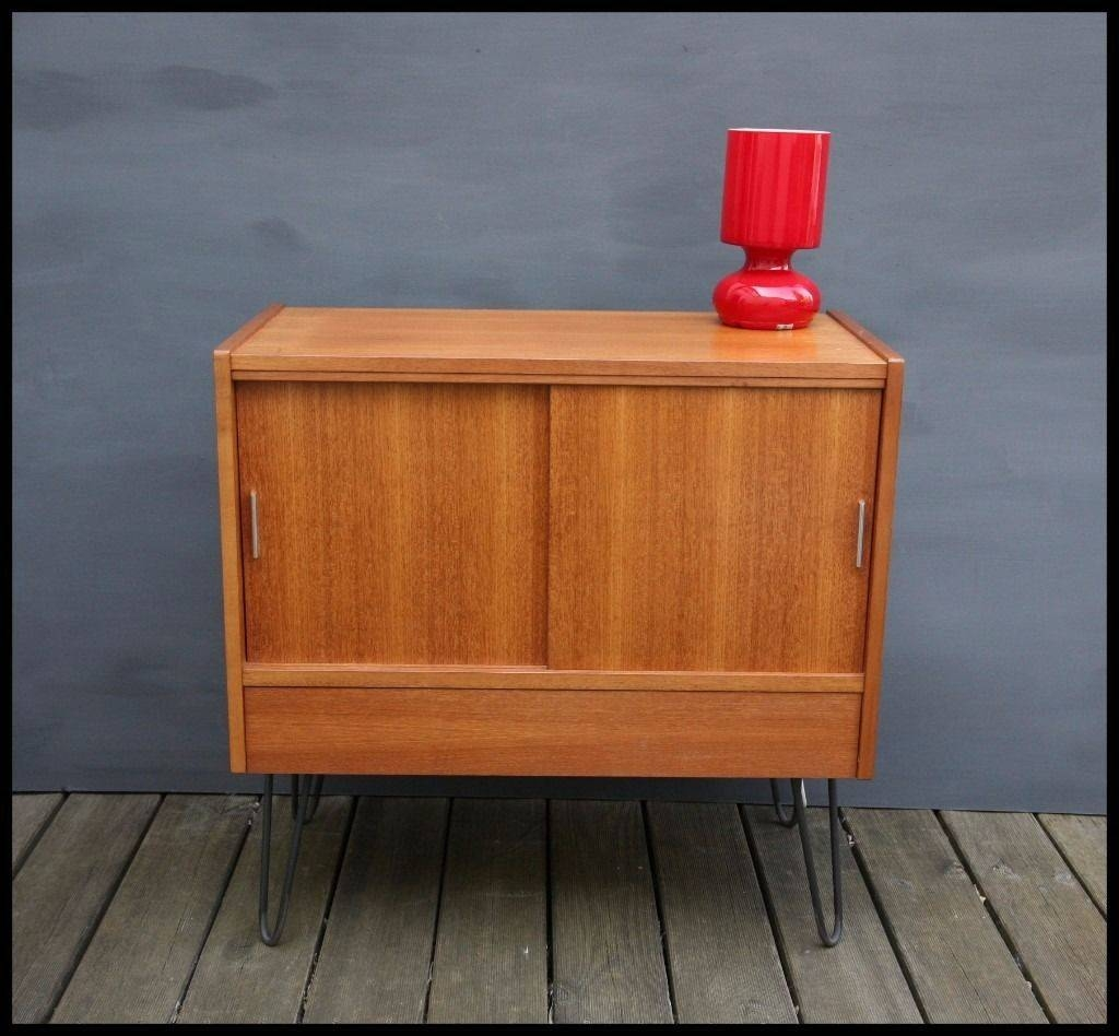 Mid Century Teak Media Unit Tv Stand Cabinet Record Storage On intended for Hairpin Leg Tv Stands (Image 9 of 15)