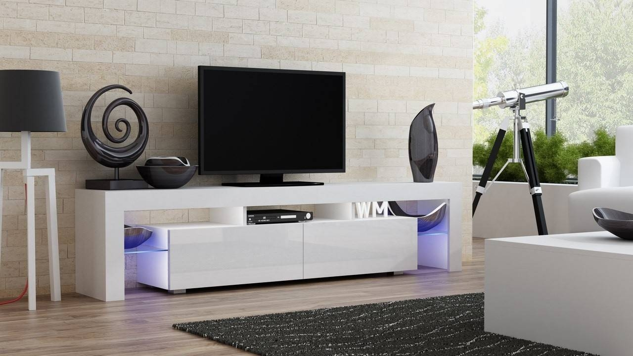 Milano 200 Width Modern Tv Stand - Concept Muebles pertaining to Long White Tv Stands (Image 11 of 15)