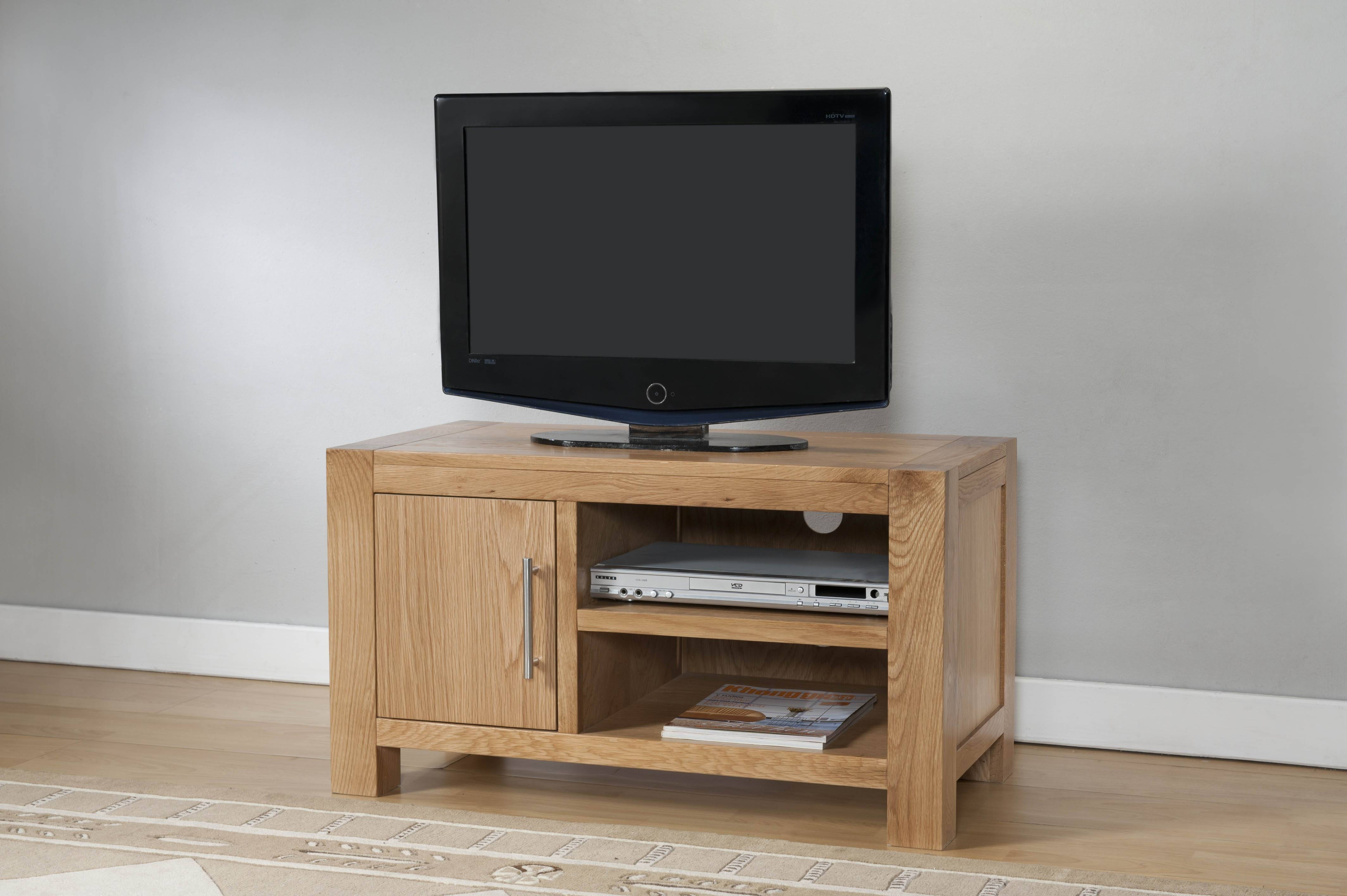 Milano Oak 1 Door Tv Stand With Shelf | Oak Furniture Solutions in Light Oak Tv Cabinets (Image 7 of 15)