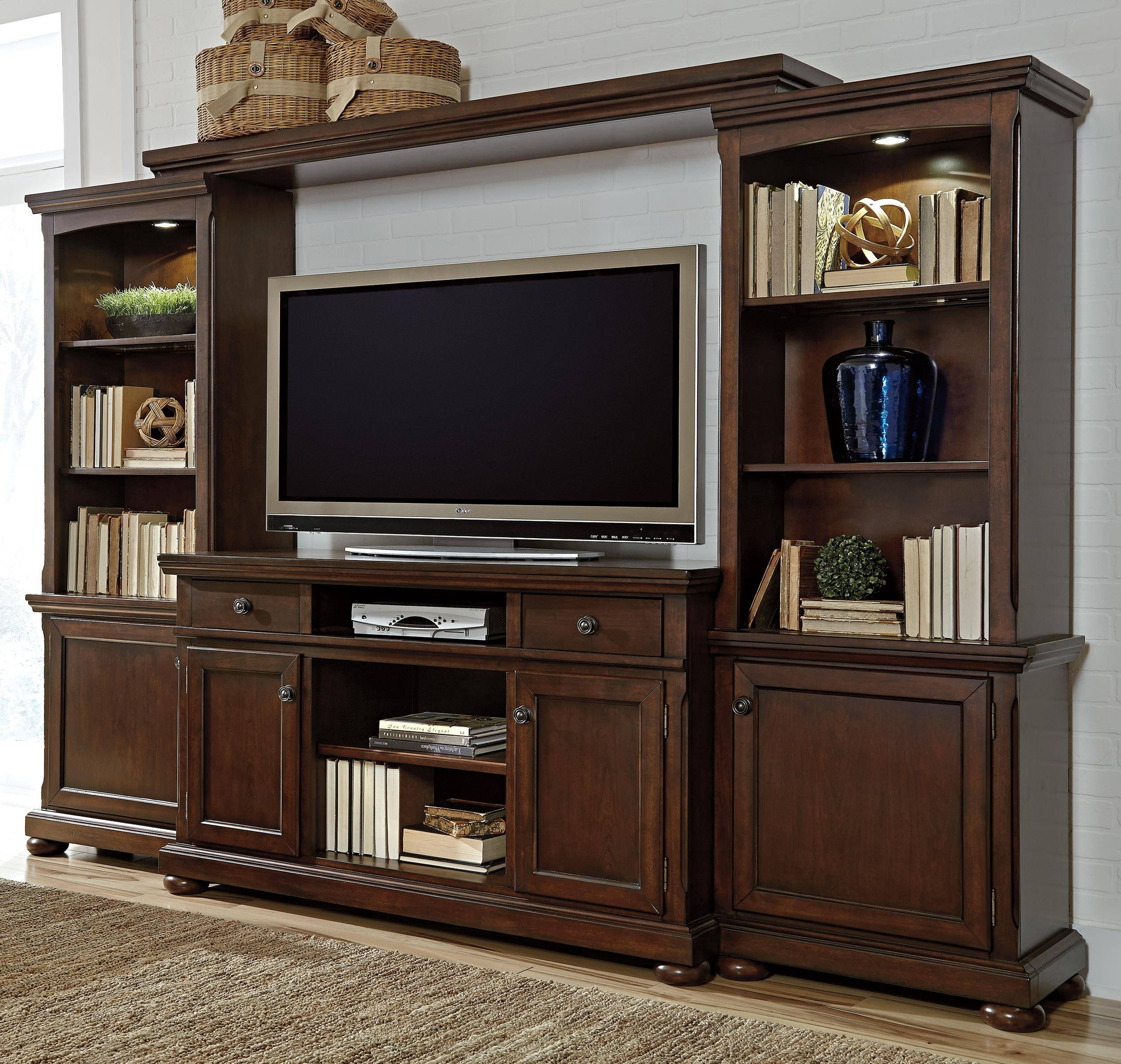 Millennium Porter Entertainment Wall Unit W/ Extra Large Tv Stand within Large Tv Cabinets (Image 10 of 15)