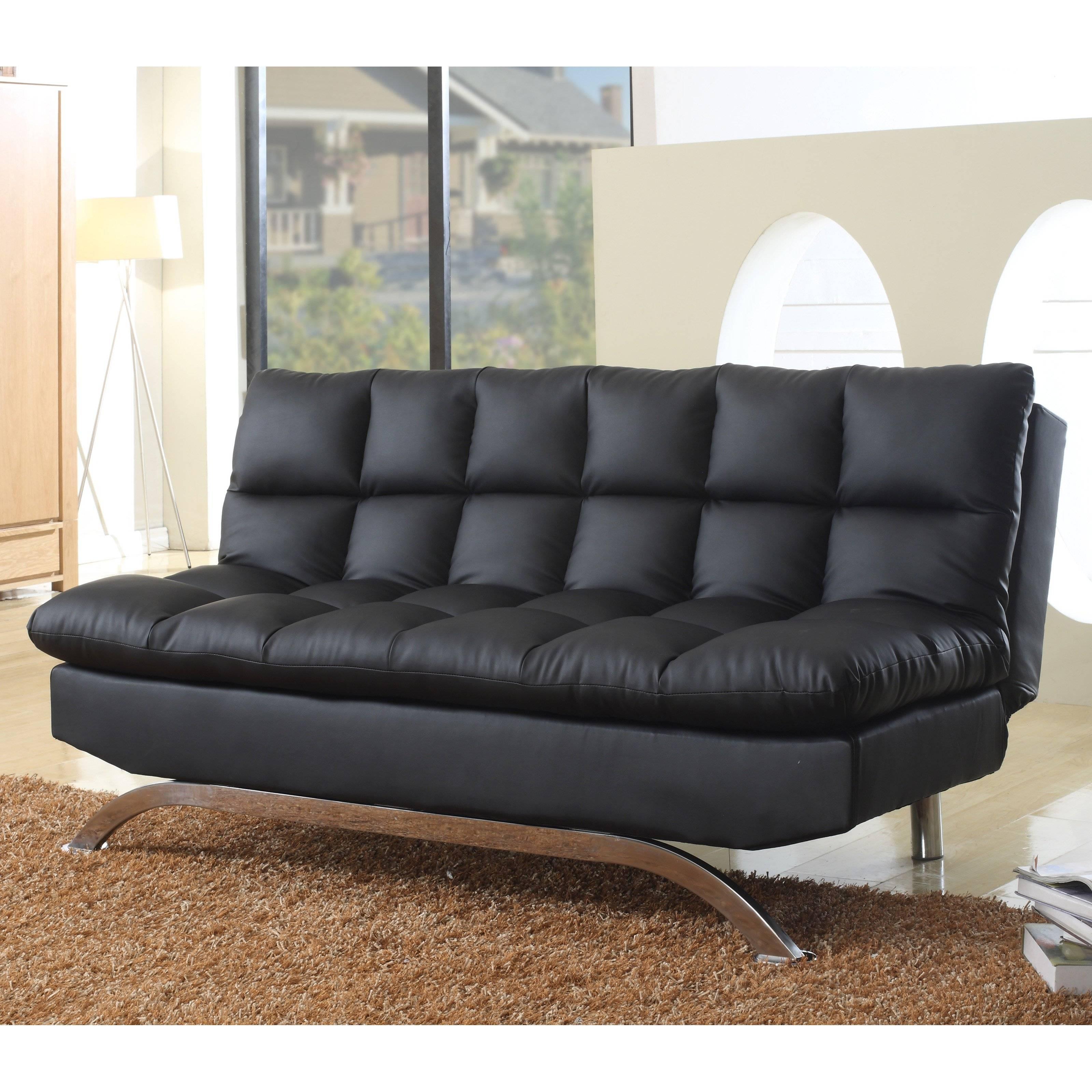 Milton Green Lugo Plush Futon Sofa Bed | Hayneedle within Leather Fouton Sofas (Image 12 of 15)