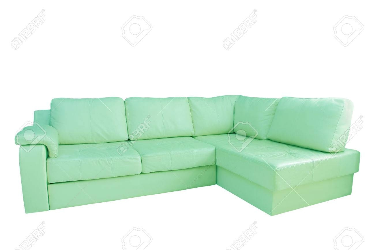 Mint Leather Corner Sofa Isolated On White Background. Stock Photo pertaining to Mint Green Sofas (Image 11 of 15)