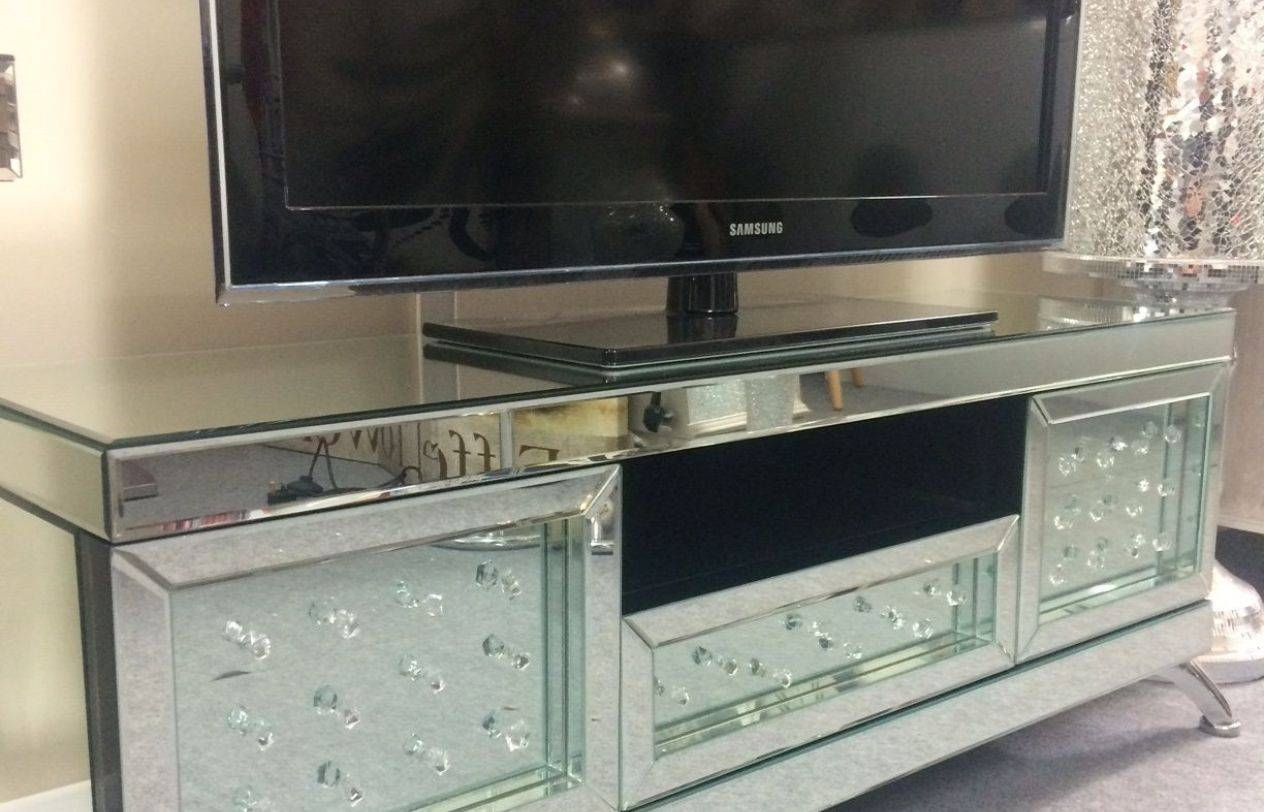 Mirror : Venetian Mirrored With Floating Crystal Tv Stand P for Mirror Tv Cabinets (Image 5 of 15)