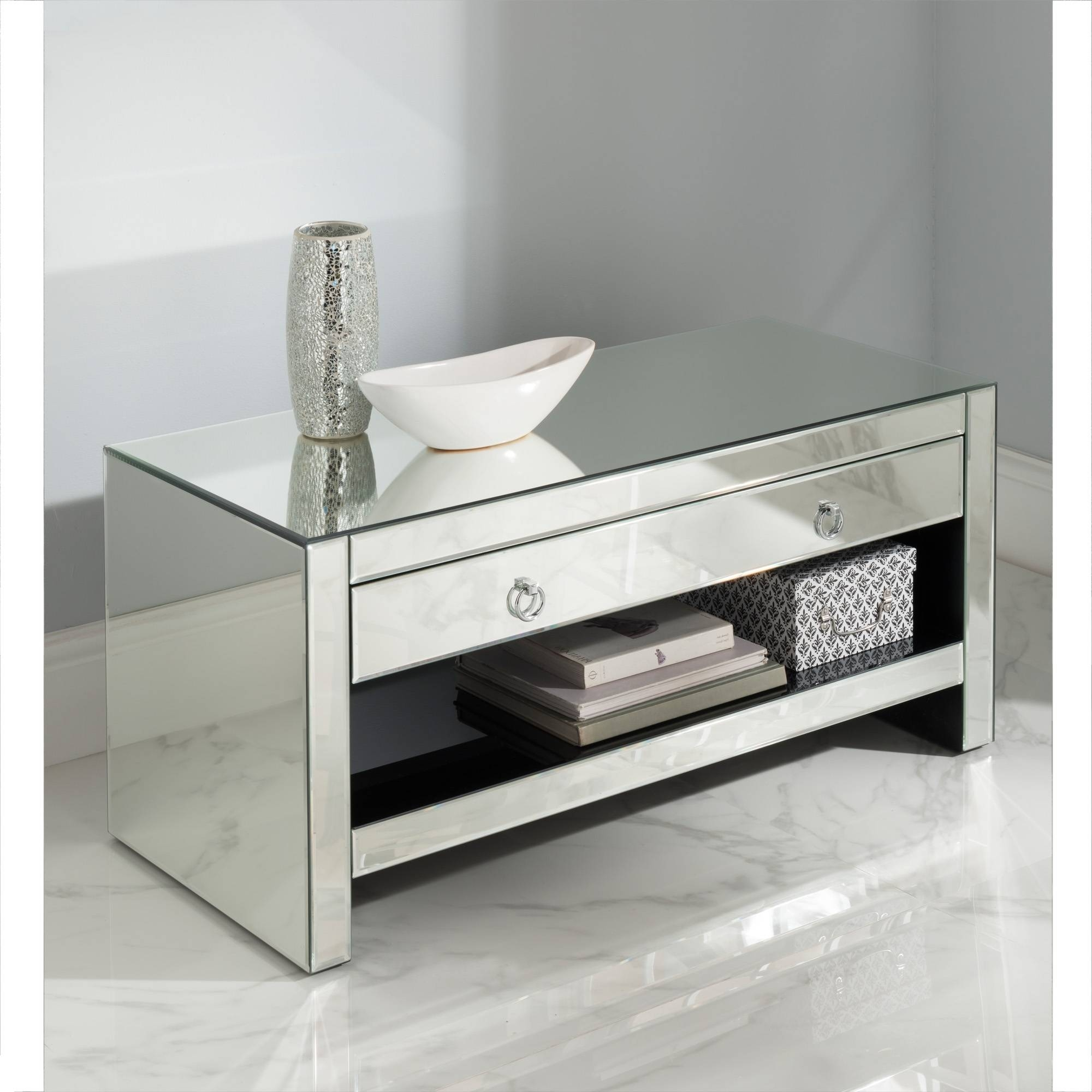 Mirrored Tv Cabinet | Glass Venetian Furniture | Homesdirect365 Throughout Mirrored Tv Cabinets Furniture (View 4 of 15)