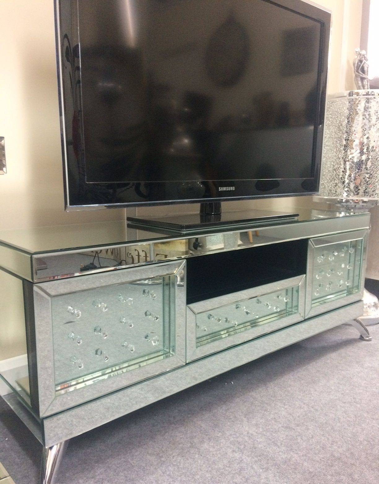 Mirrored With Floating Crystal Tv Stand Inside Stands Photo 10 Of 15