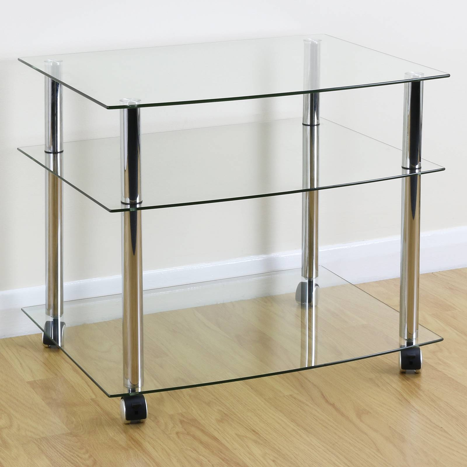 Mobile Chrome & Clear Glass 3 Shelf Tv Stand/trolley/unit With with Clear Glass Tv Stand (Image 9 of 15)
