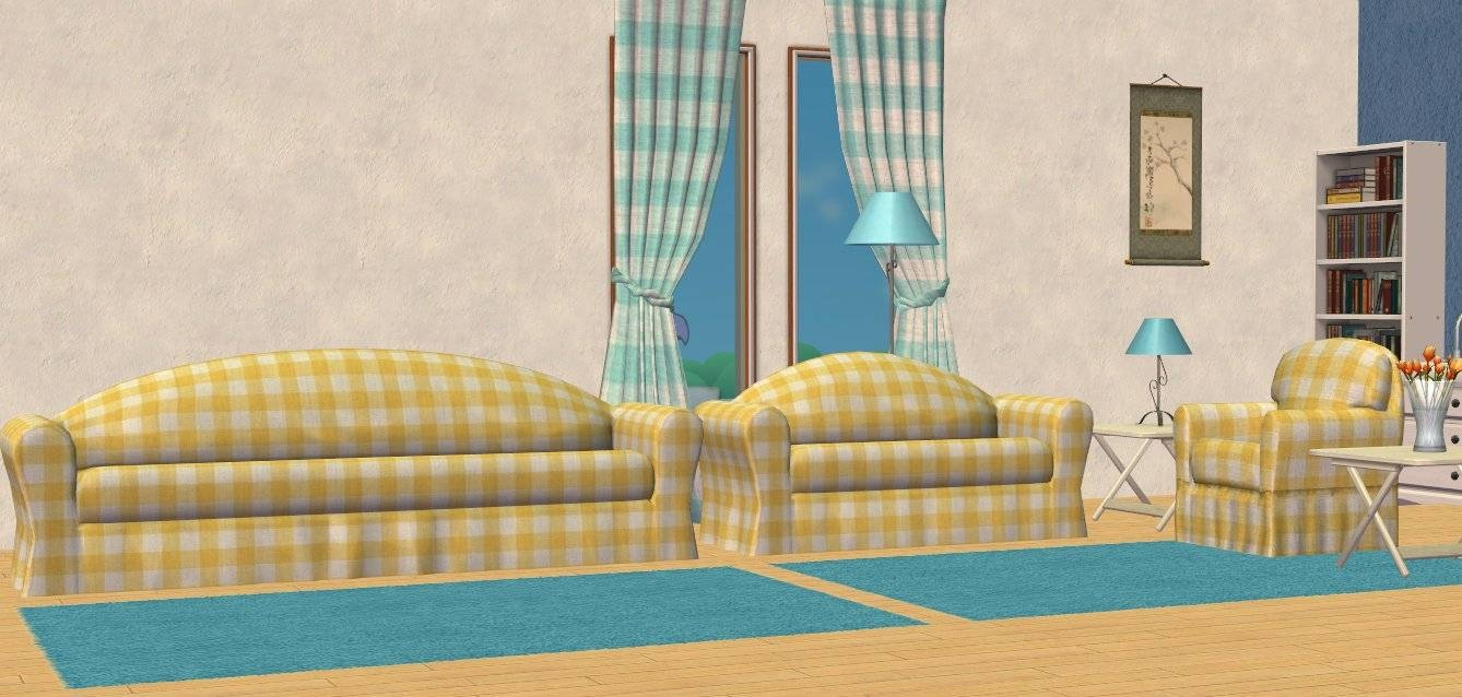 Mod The Sims - Base Game Oaktowne Sofa Set In Mlc Palette, Gingham within Gingham Sofas (Image 5 of 15)