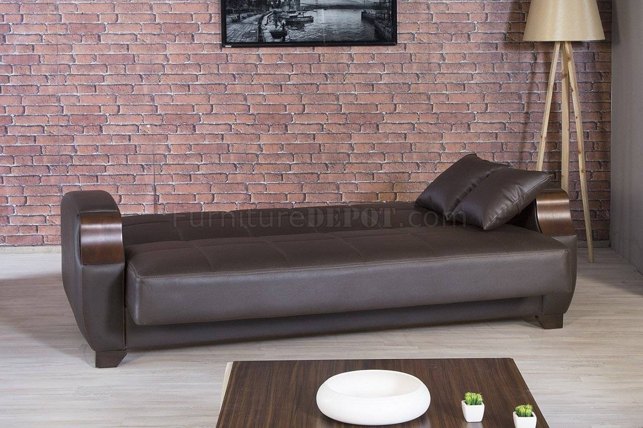 Moda Sofa Bed In Brown Leatherettecasamode W/options for Euro Sofa Beds (Image 8 of 15)