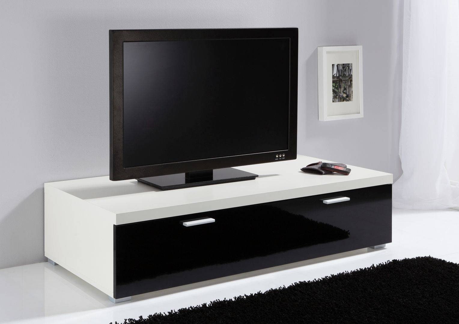 Modanuvo Low Tv Unit, Tv Cabinet, Tv Stand Off White & Black High inside Low Tv Units (Image 13 of 15)